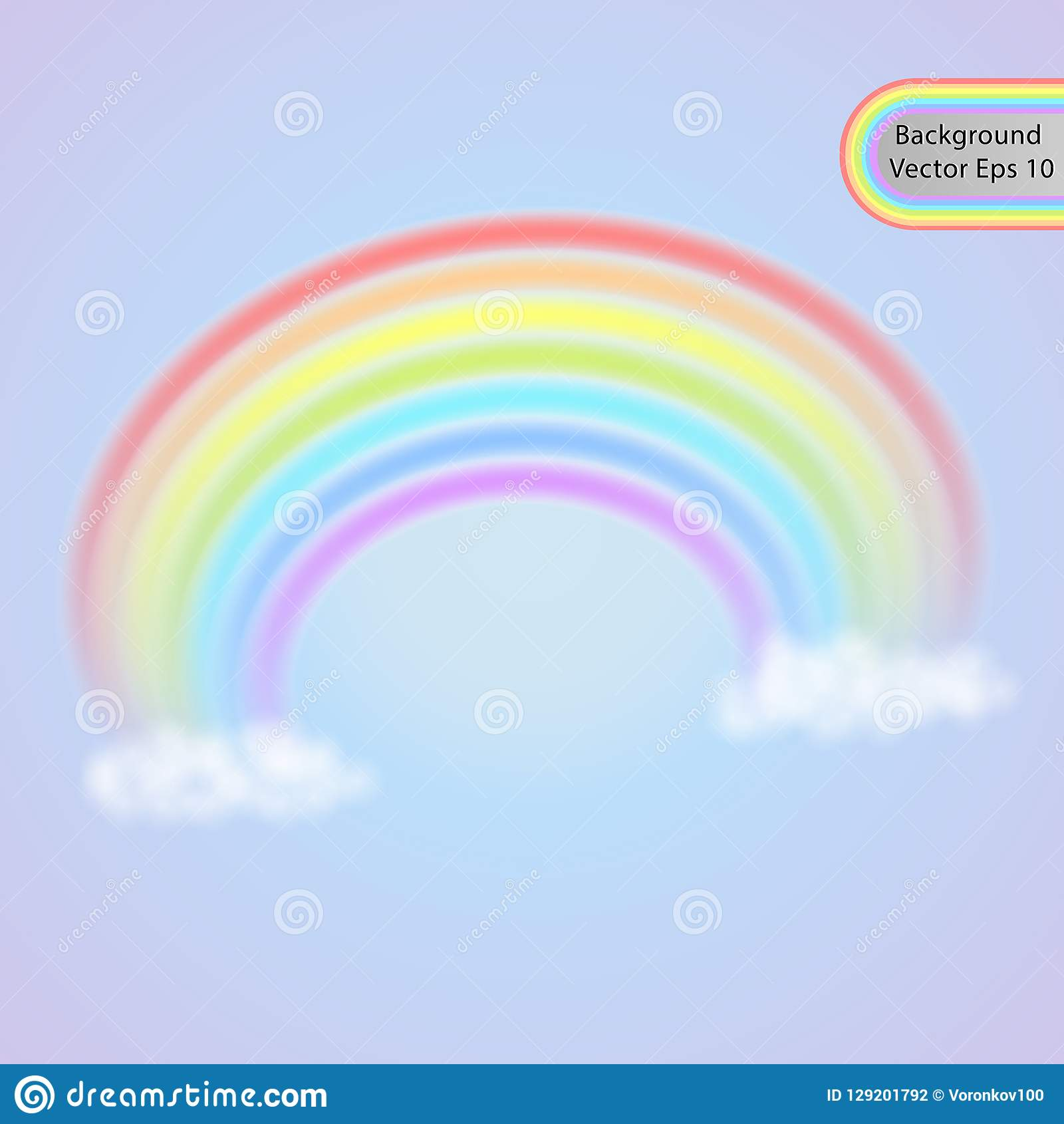 Rainbow In The Clouds Realistic Rainbow Effect In The Form Of An Arch In A Gentle Color Palette Vector Stock Vector Illustration Of Orange Drawing 129201792