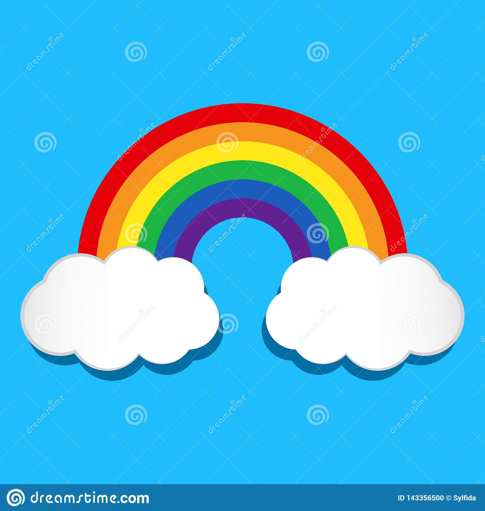 Rainbow and clouds. Vector illustration