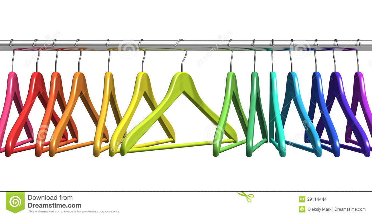 Rainbow Coat Hangers On Clothes Rail Stock Images Image 29114444
