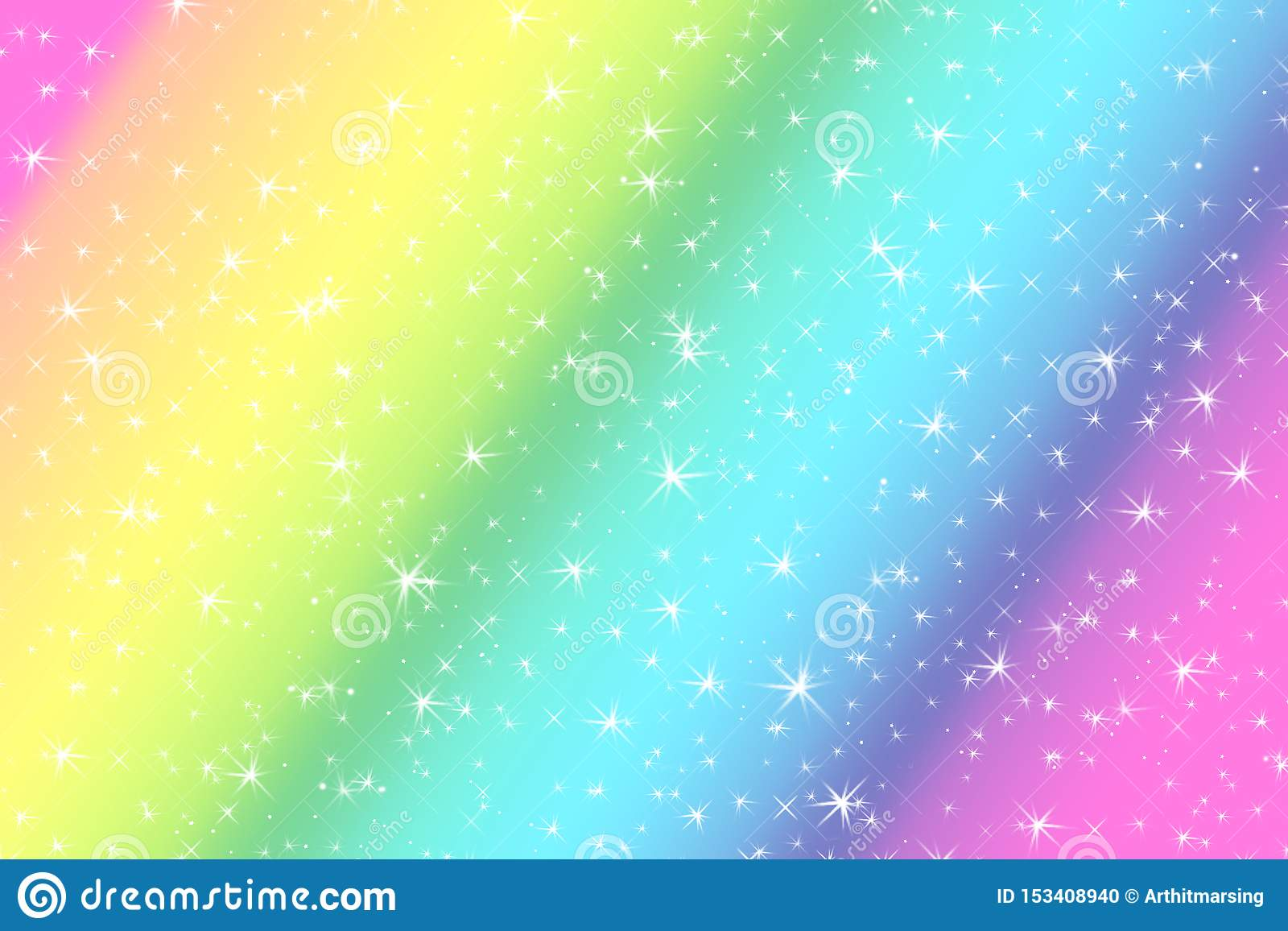 Rainbow color abstract background with soft light stars presented background of dream concept on sweet content. The rainbow color
