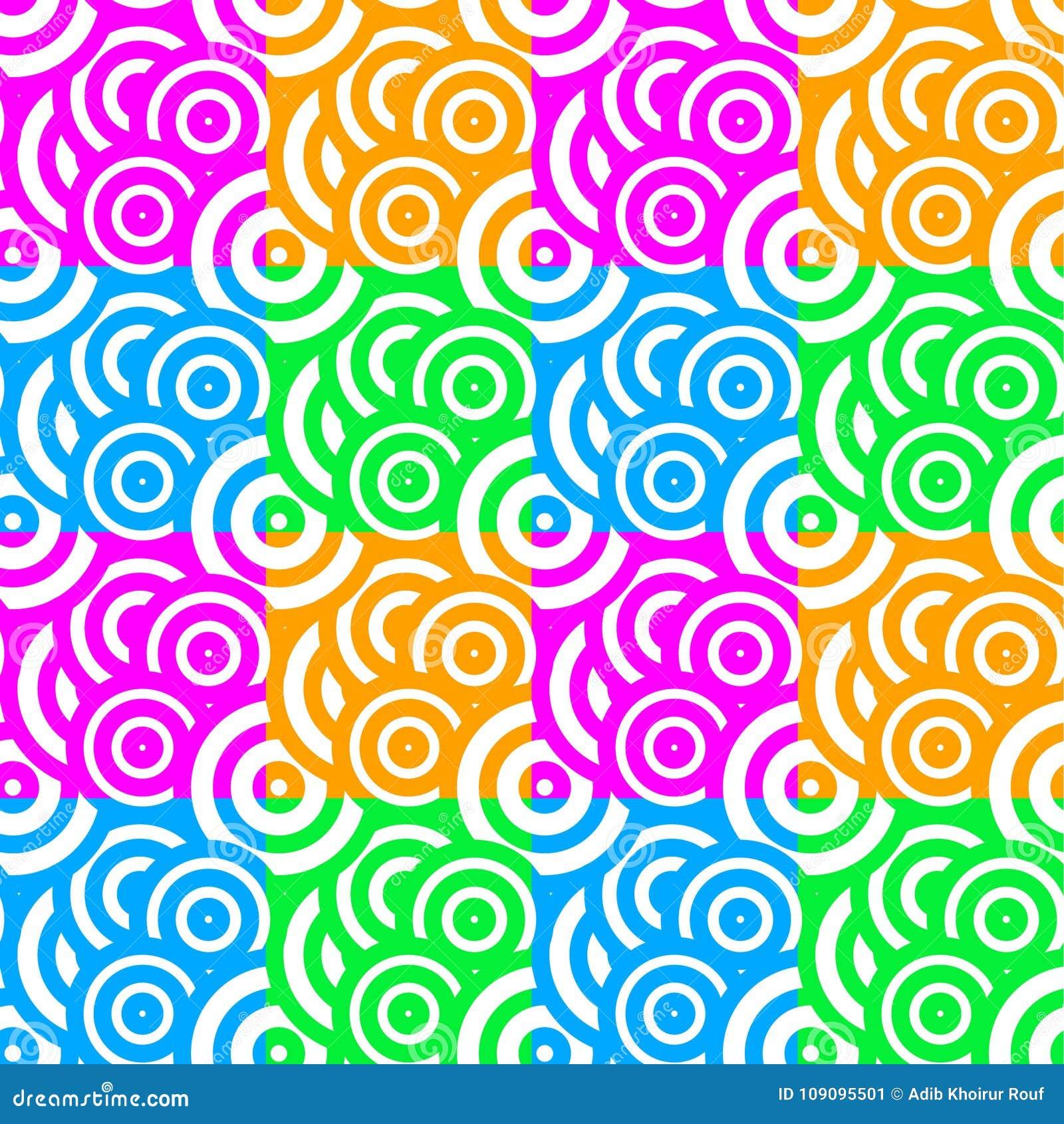 Rainbow Color Circle Pattern Seamless
