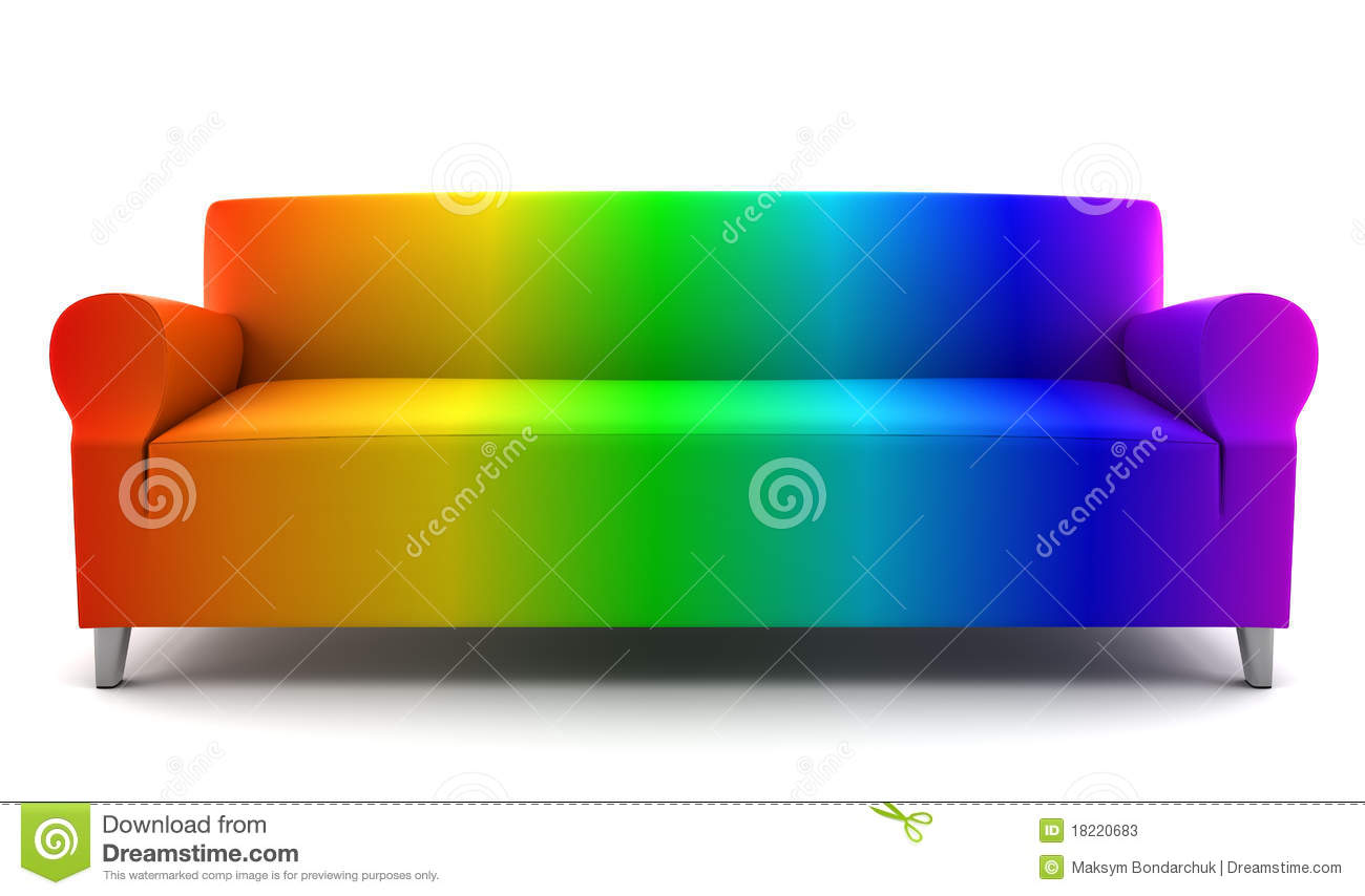 Rainbow Color Couch Isolated On White Stock Photos Image