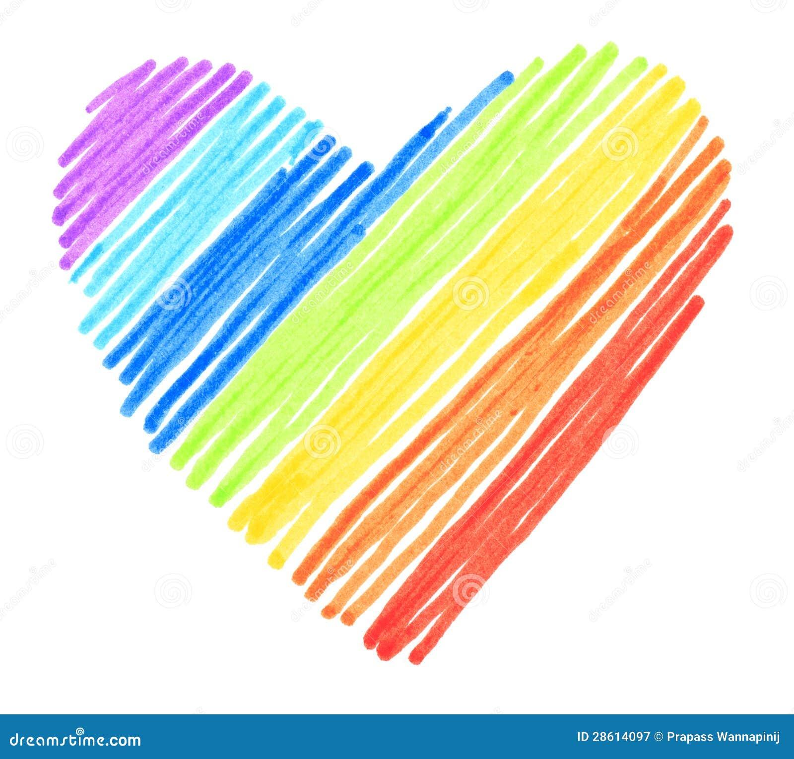 rainbow color drawing stroke heart shape royalty free stock