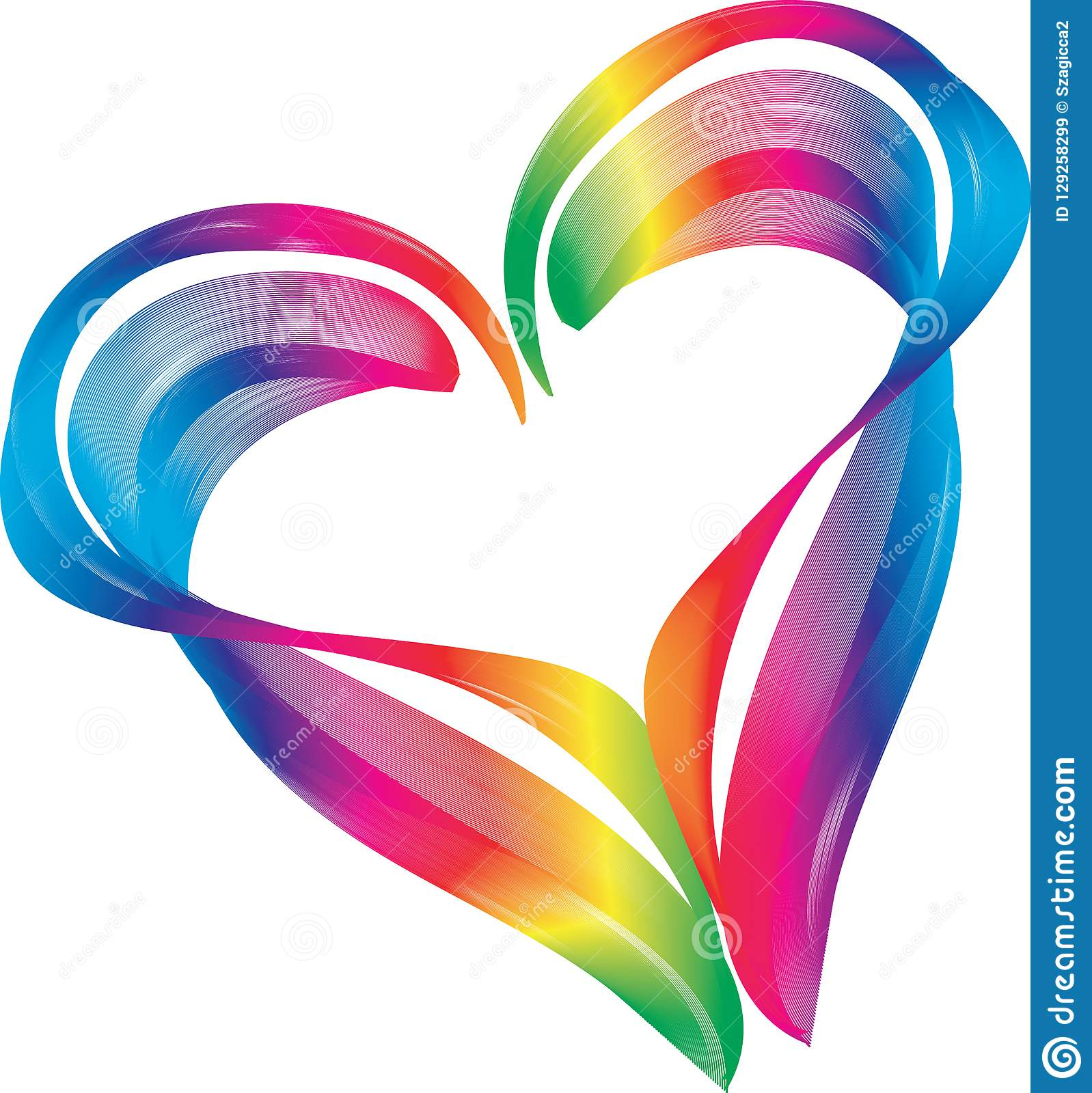 Rainbow color heart shape symbol