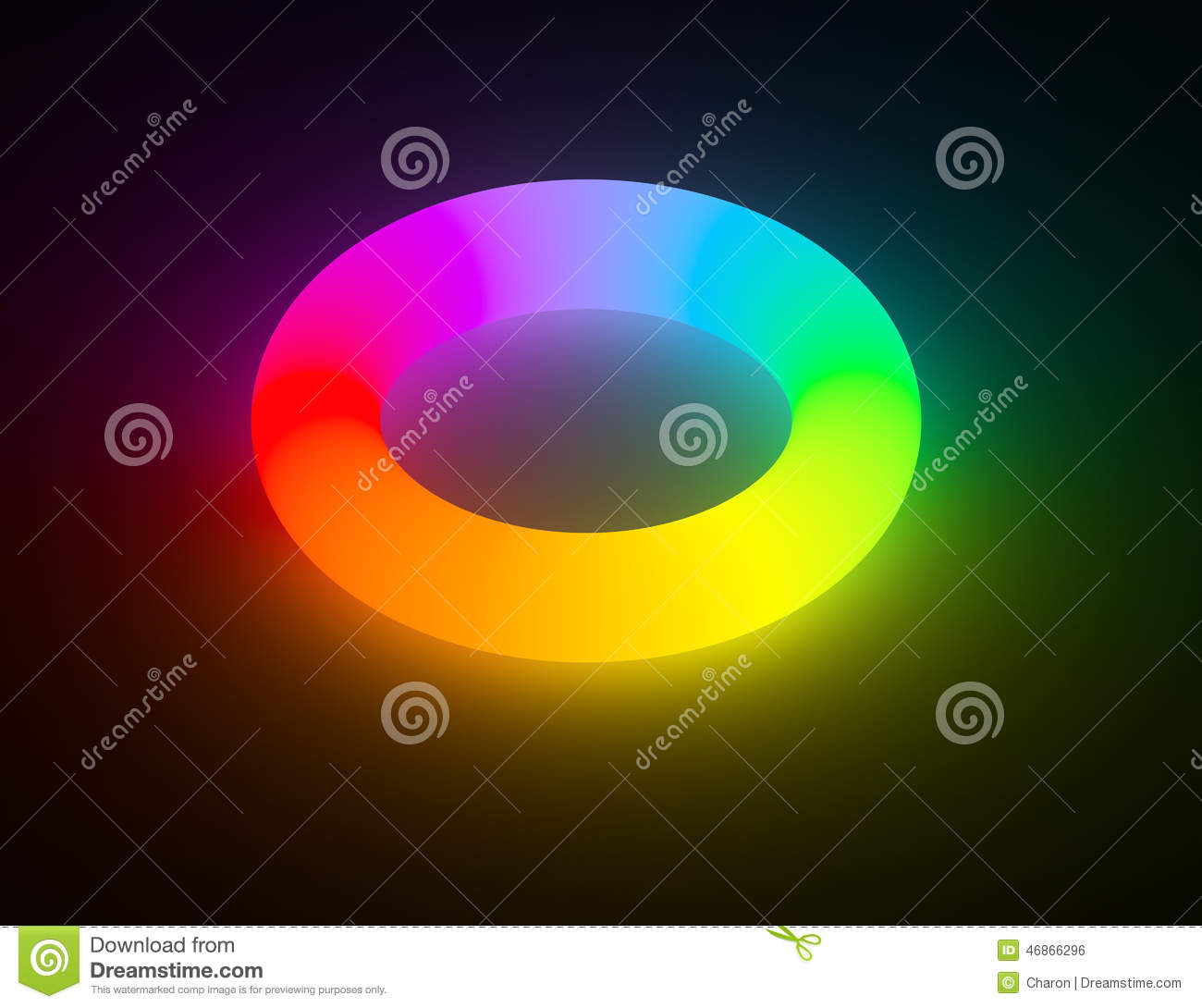 rainbow color light glowing ring isolated stock illustration
