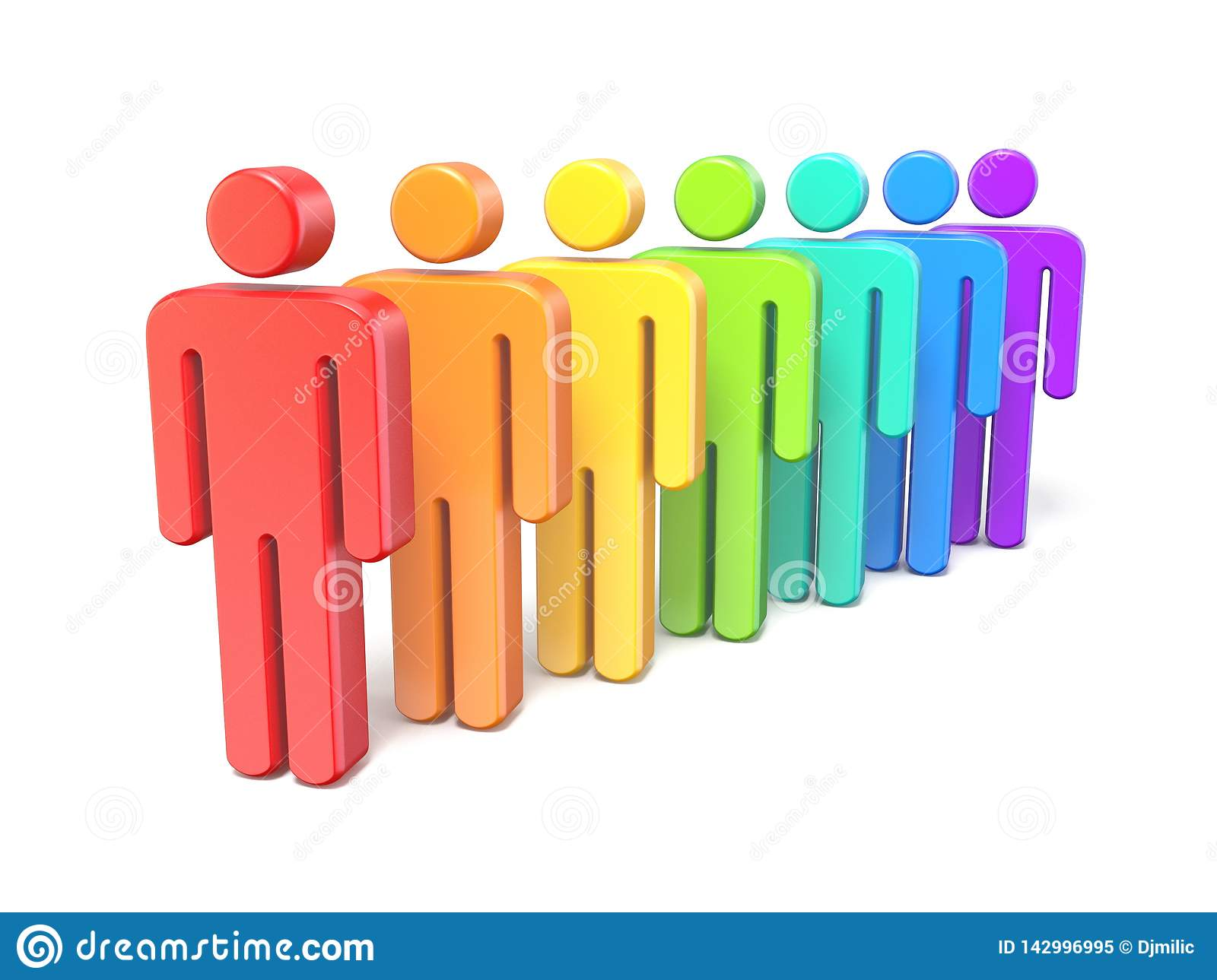 Rainbow colored abstract figures in a row 3D