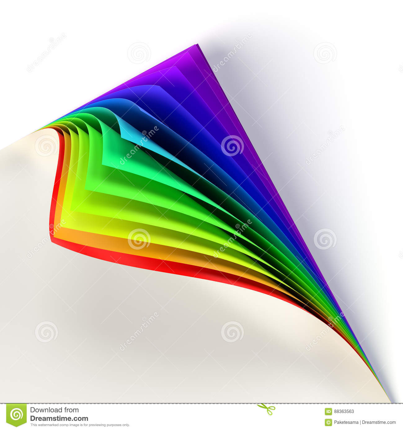 Blank Document Rainbow Colored Curled Corner Graphic Design Element Empty Template Mock Up Business Corporate Identity Advertisement