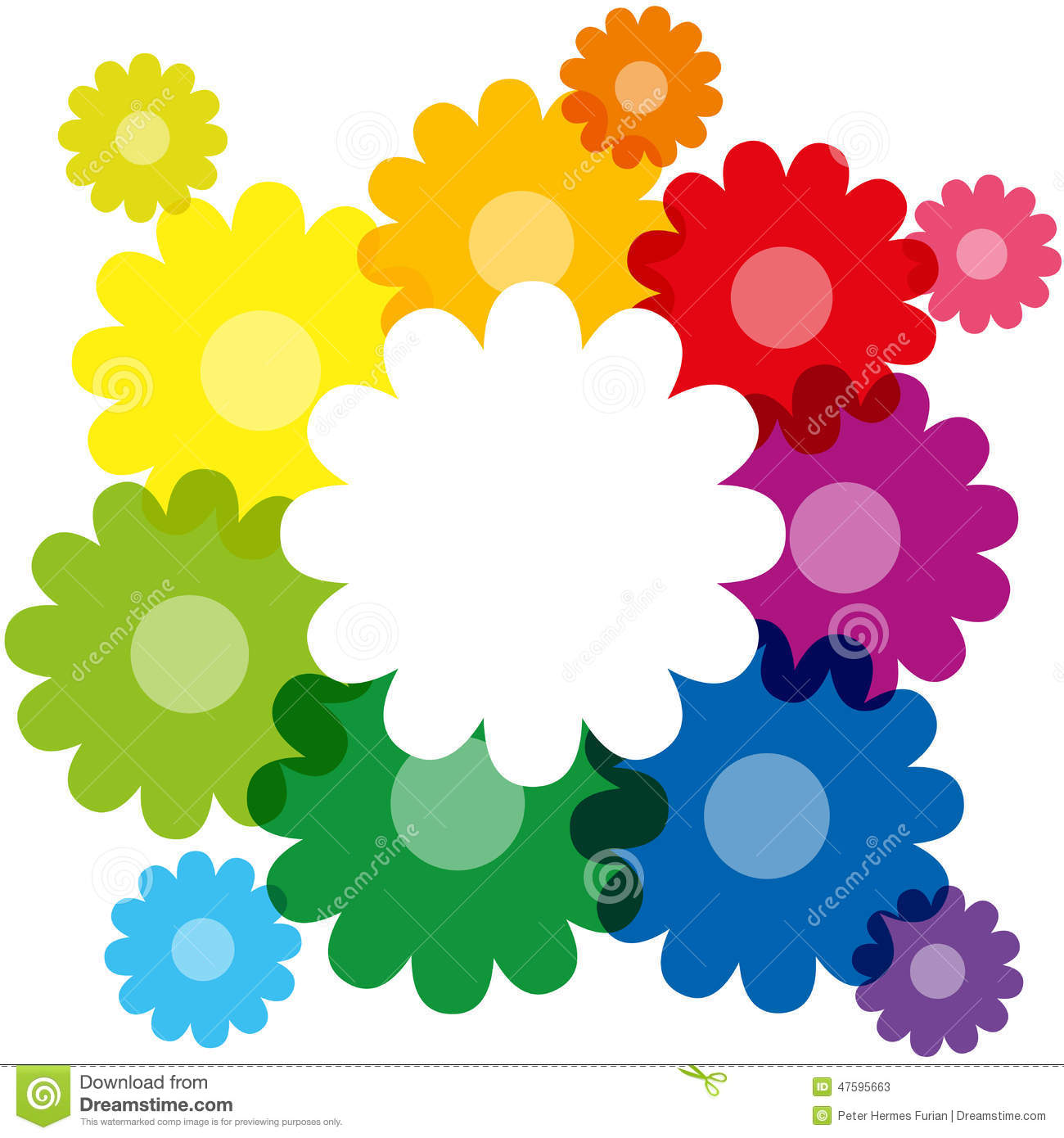 Rainbow colored flowers forming a colorful bouquet and frame to write ...