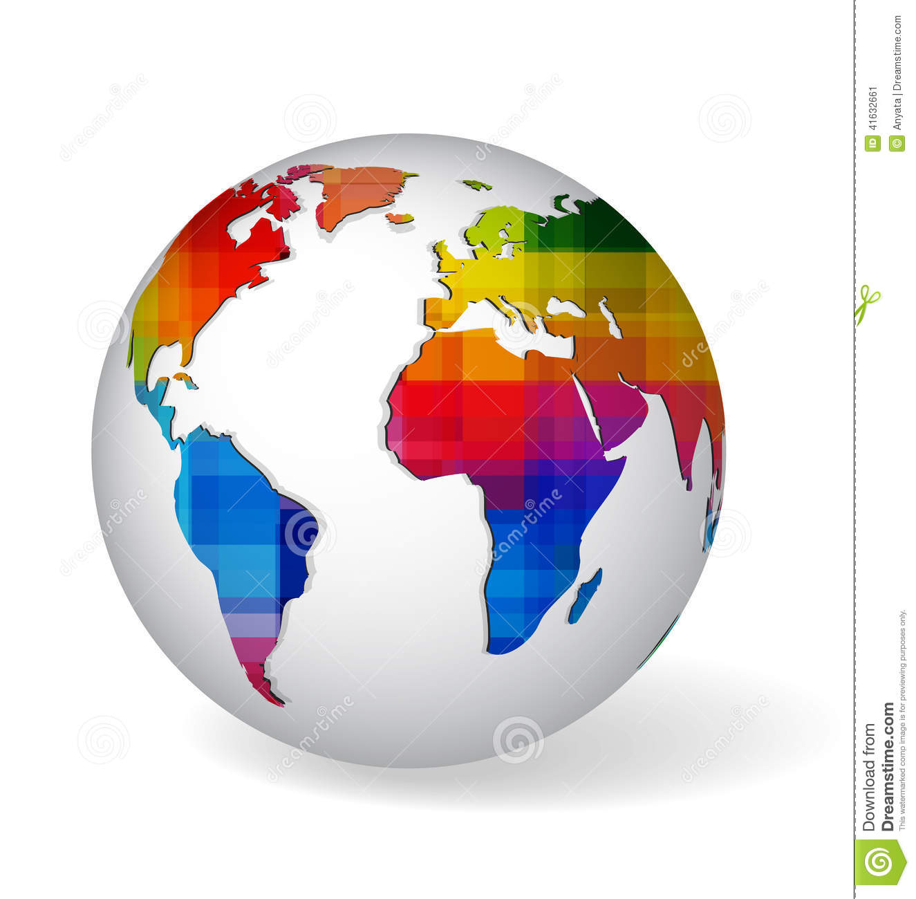 Rainbow colored glob icon stock vector illustration of abstract white globe symbol with rainbow colored and geometrical textured world map icon of earth on white with realistic shadow gumiabroncs Gallery