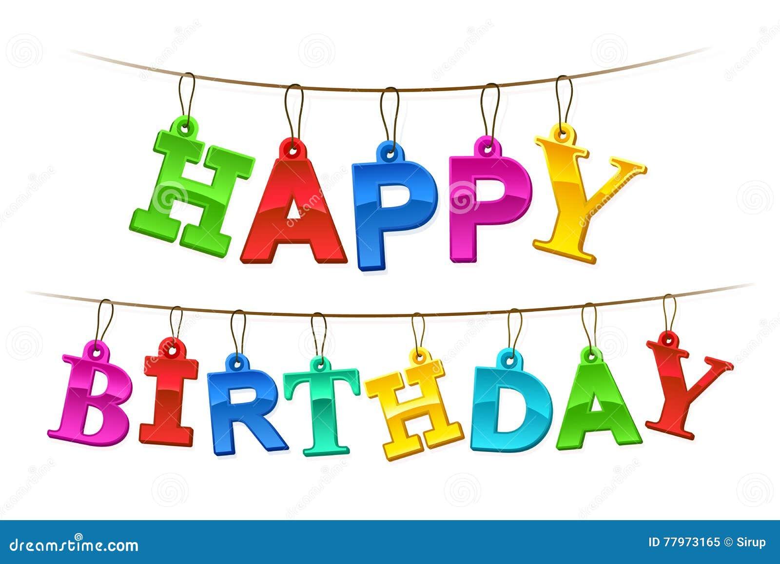 Rainbow Colored Happy Birthday Hanging Banner Stock Vector - Image: 77973165