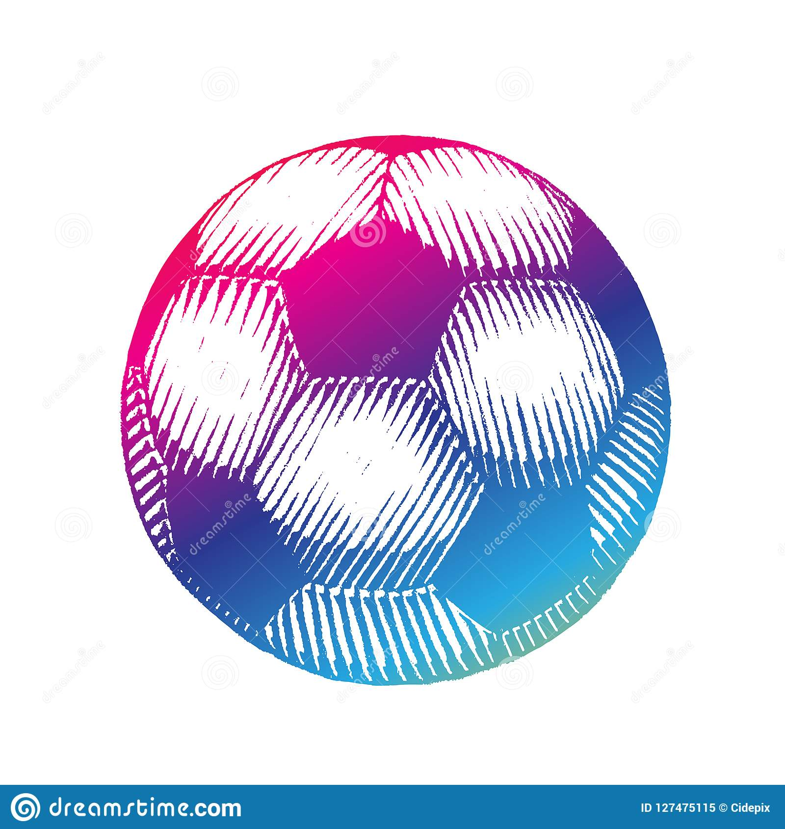 Rainbow Colored Vectorized Ink Sketch Of Soccer Ball