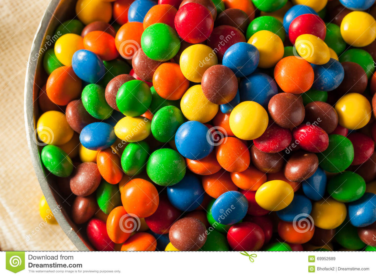 rainbow colorful candy coated chocolate stock photo