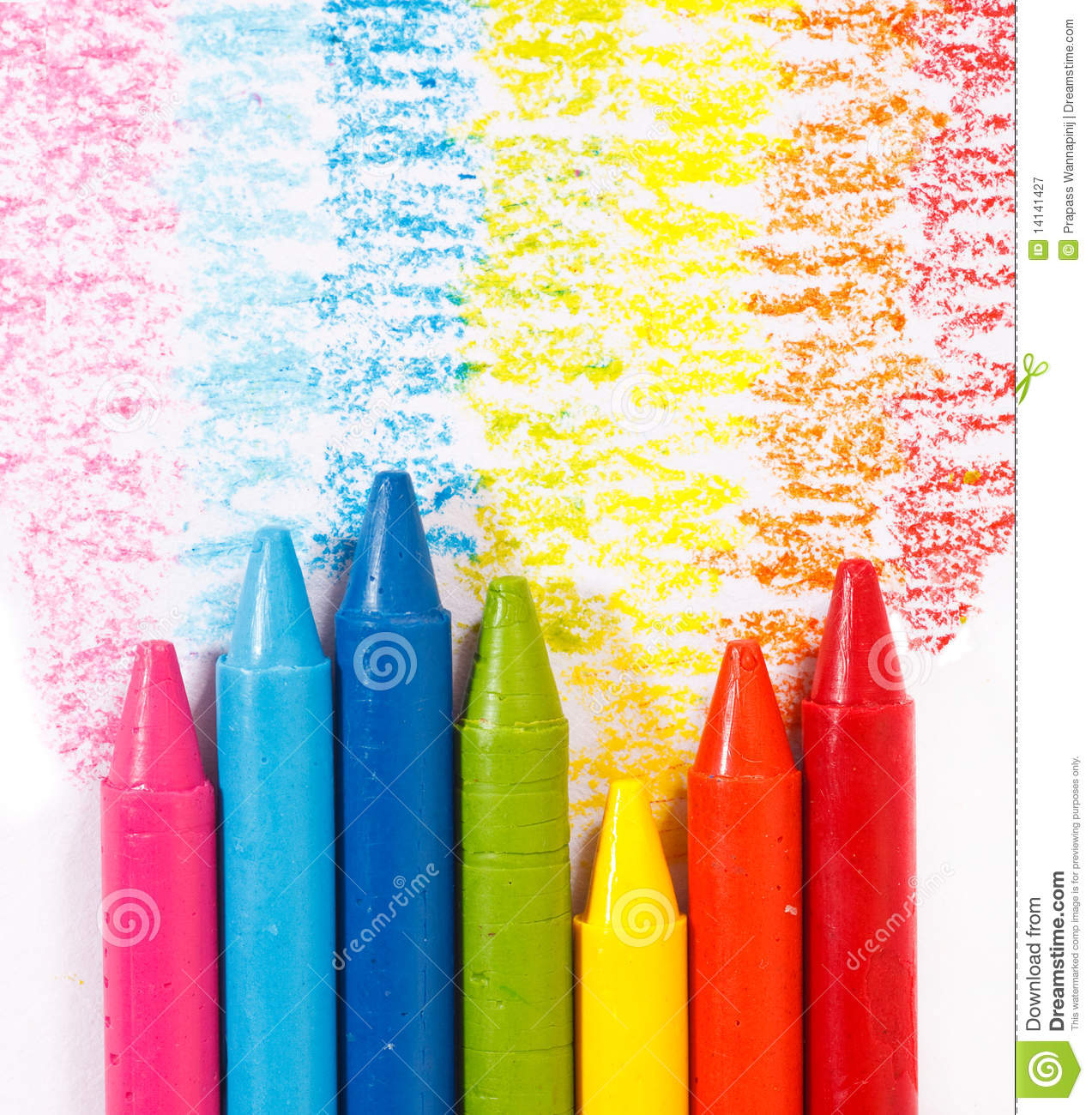 rainbow colorful crayon color for children royalty free stock