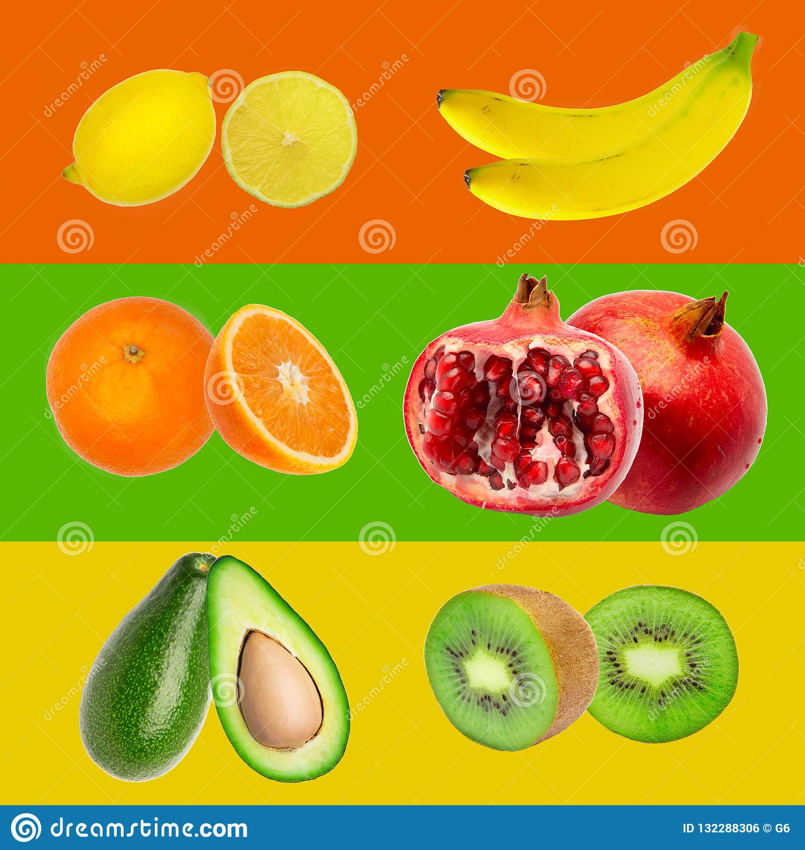 Rainbow Colorful Fruit Stripes Collection On Colorful Background Stock Photo Image Of Exotic Fresh 132288306