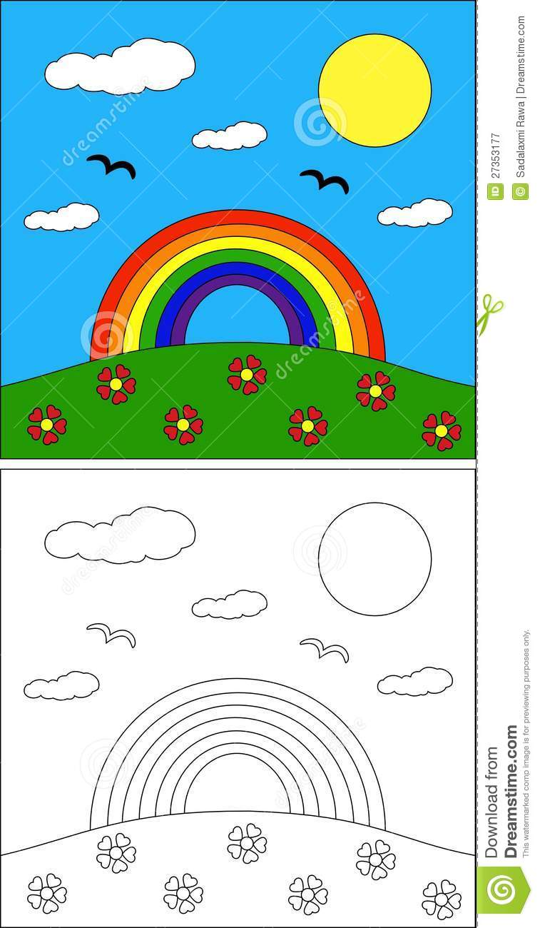 Rainbow coloring page stock vector. Illustration of scenery - 27353177