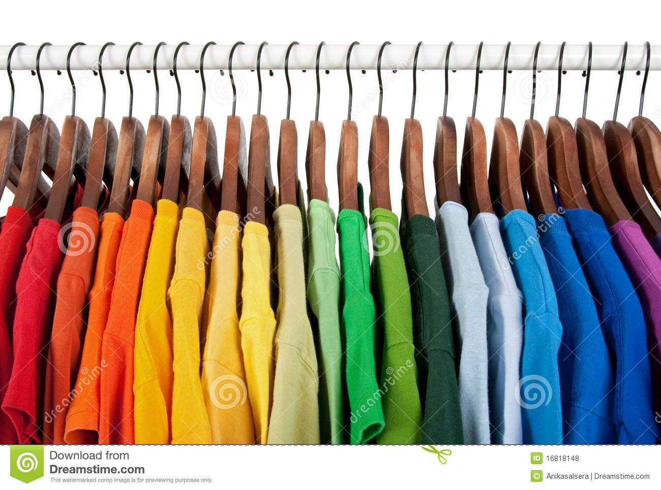 Rainbow Colors Clothes On Wooden Hangers Stock Photo Image Of