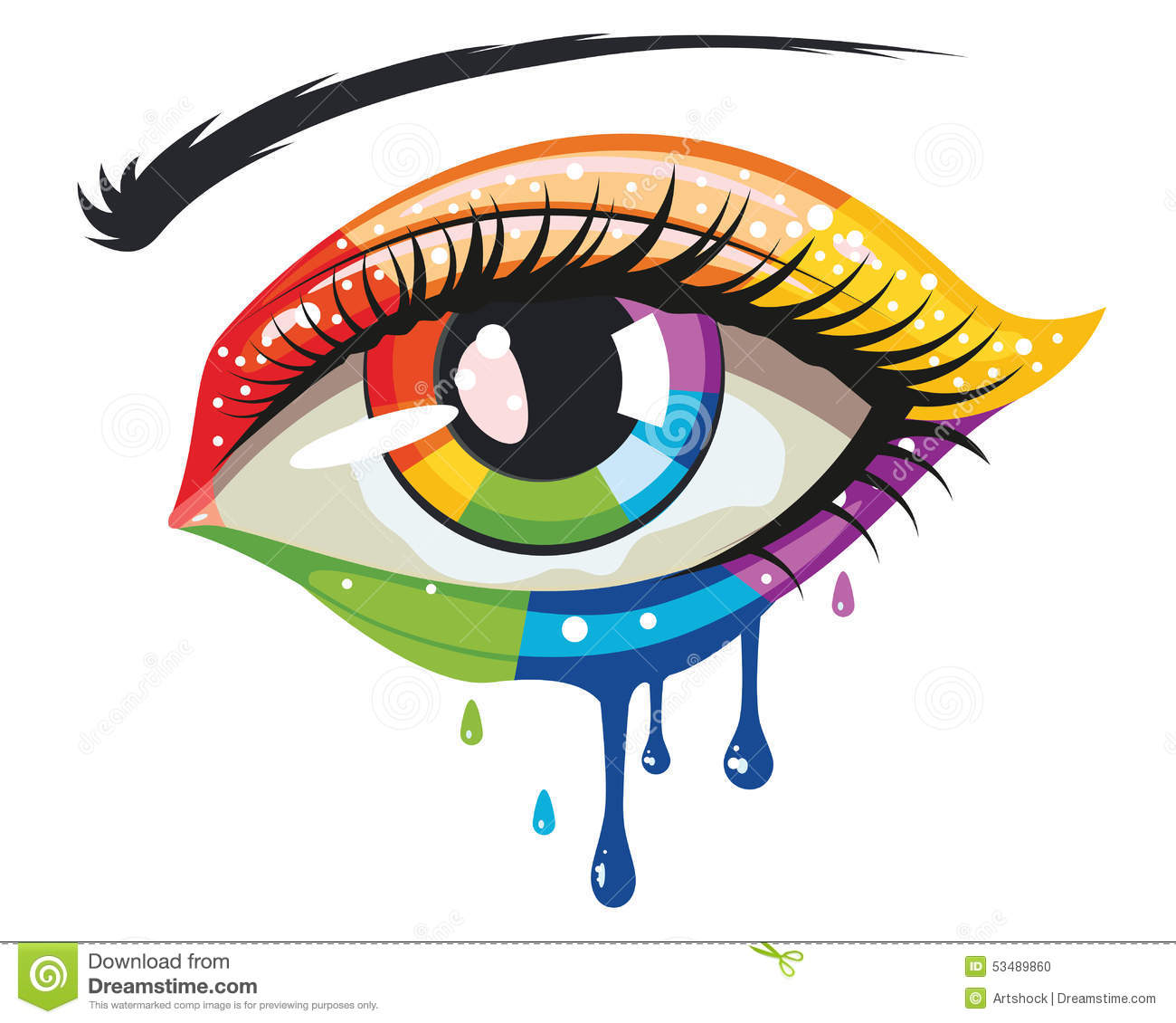 Rainbow Colors Eye Stock Vector Illustration Of Eyelid