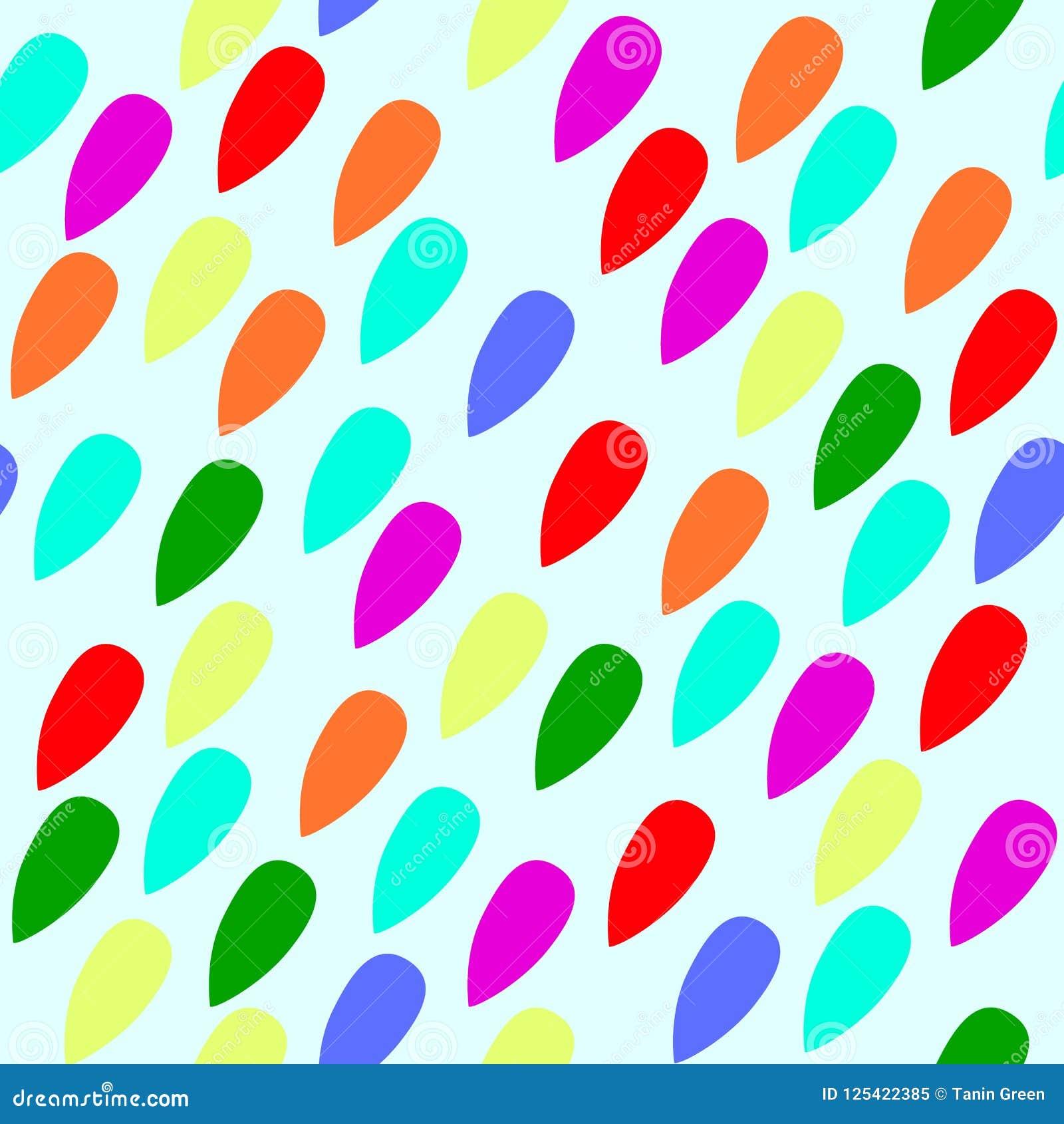 Rainbow colour raindrops seamless pattern backgroun