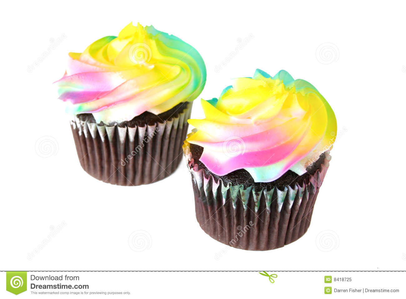 Chocolate Cupcakes With Rainbow Frosting Royalty Free ...
