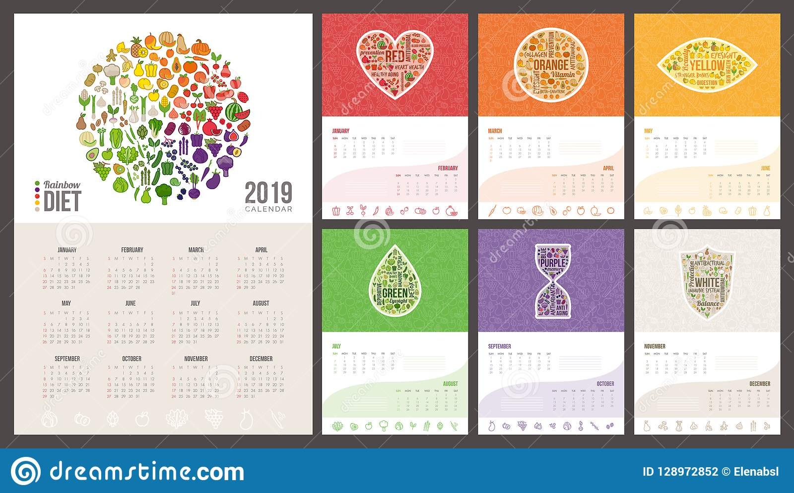 Calendario Rainbow.Rainbow Diet Calendar 2019 Stock Vector Illustration Of