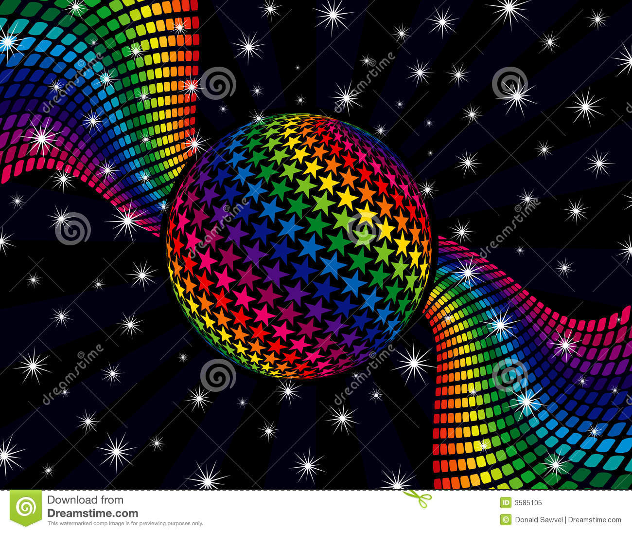 Rainbow Disco Background Extended Psychedelic Vector Stock