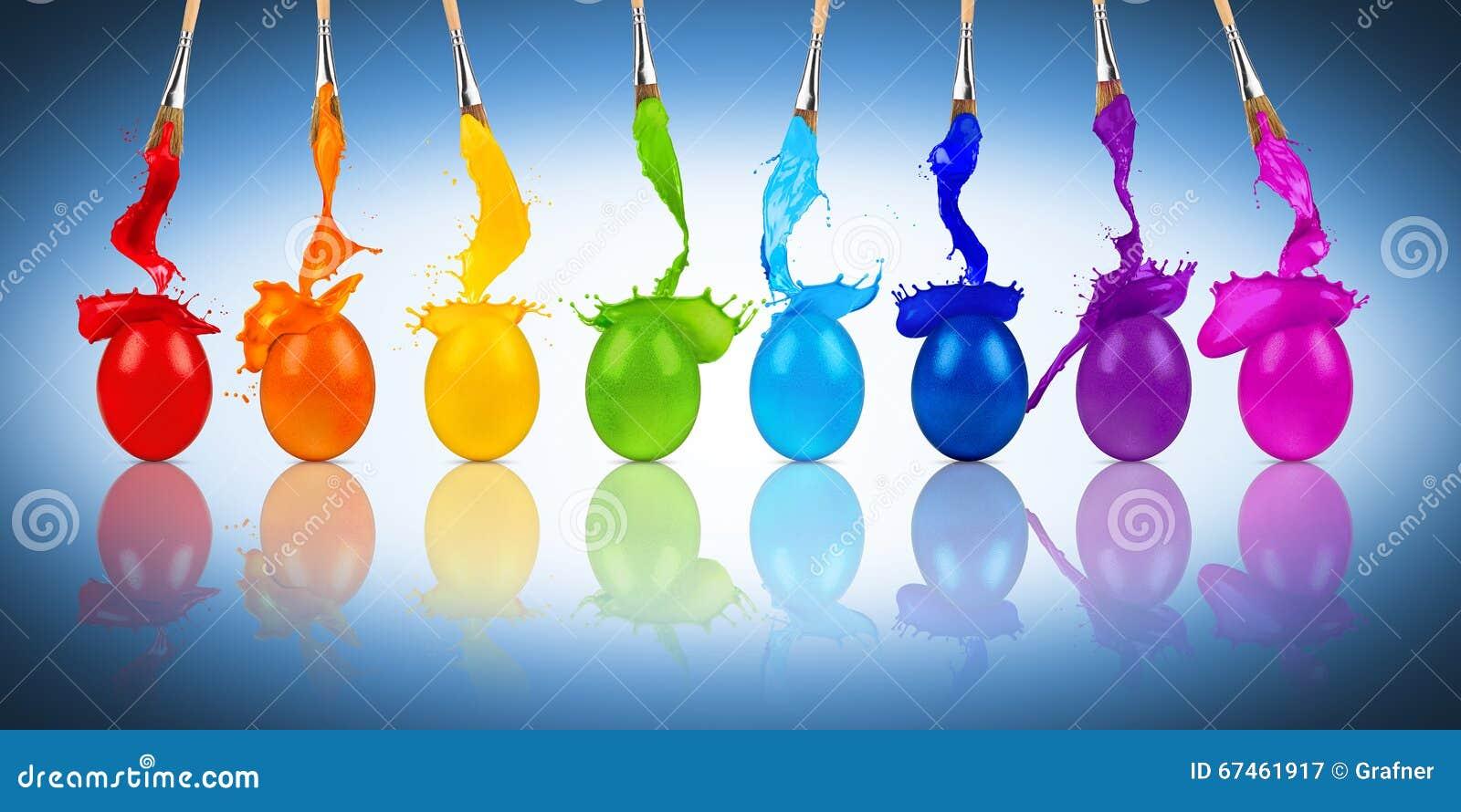 rainbow easter egg color splash row stock photo image 67461917