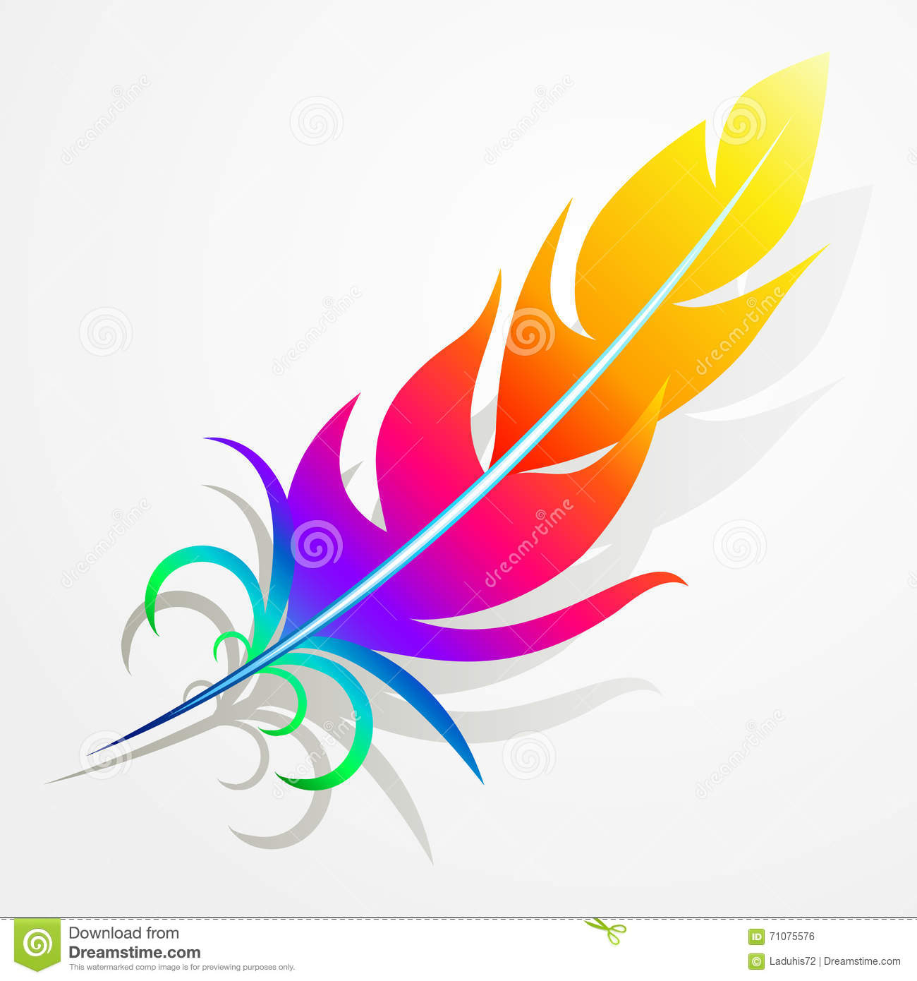 Rainbow Feather Stock Vector Illustration Of Colorful
