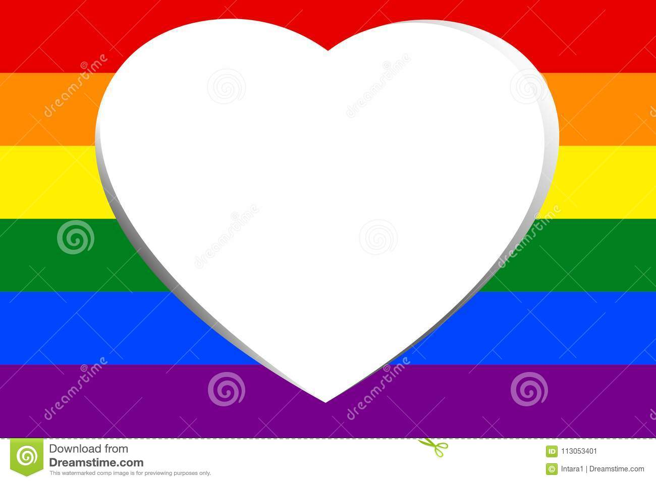 White Hollow Heart In Colorful Rainbow Striped Vector Illustration