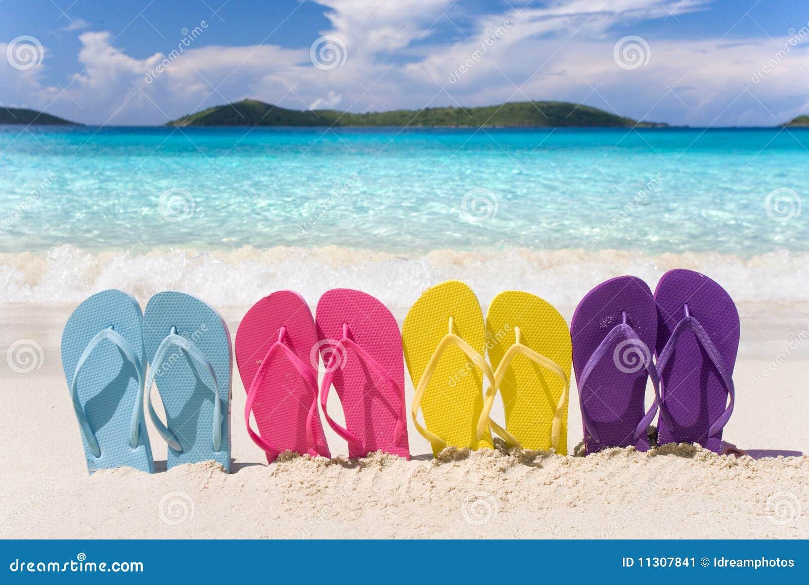 Rainbow flip flops beach