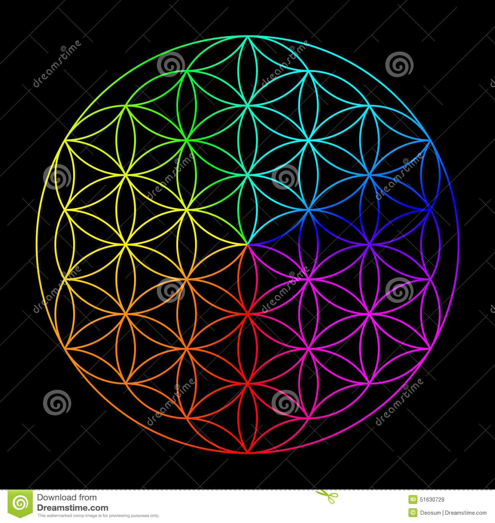 Rainbow Flower Of Life Stock Illustration Illustration Of Life