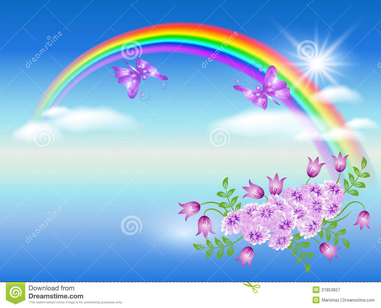 Rainbow and flowers stock vector. Illustration of beams ...