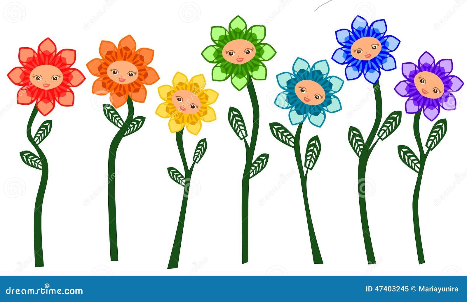Rainbow Flowers cute face cartoon illustration vector isolated.