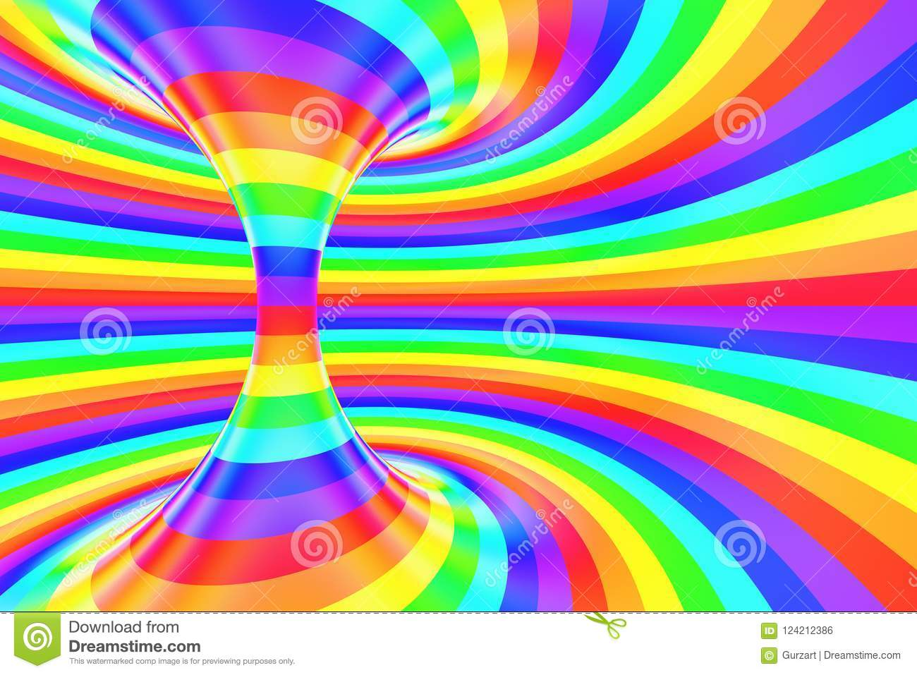 Rainbow Funny Spiral Tunnel Striped Twisted Cheerful