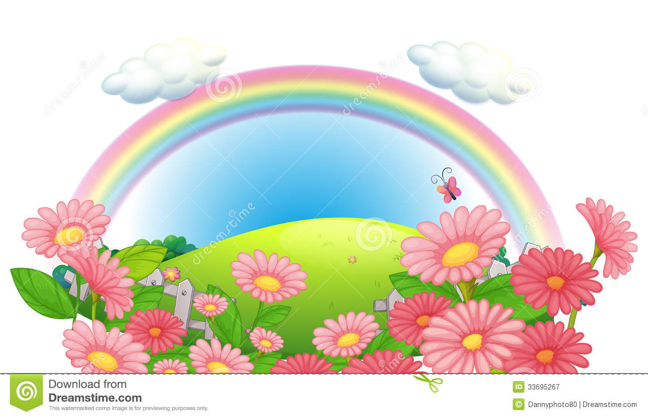 a rainbow and a garden of flowers at the hills stock illustration illustration of garden cartoon 33695267 dreamstime com