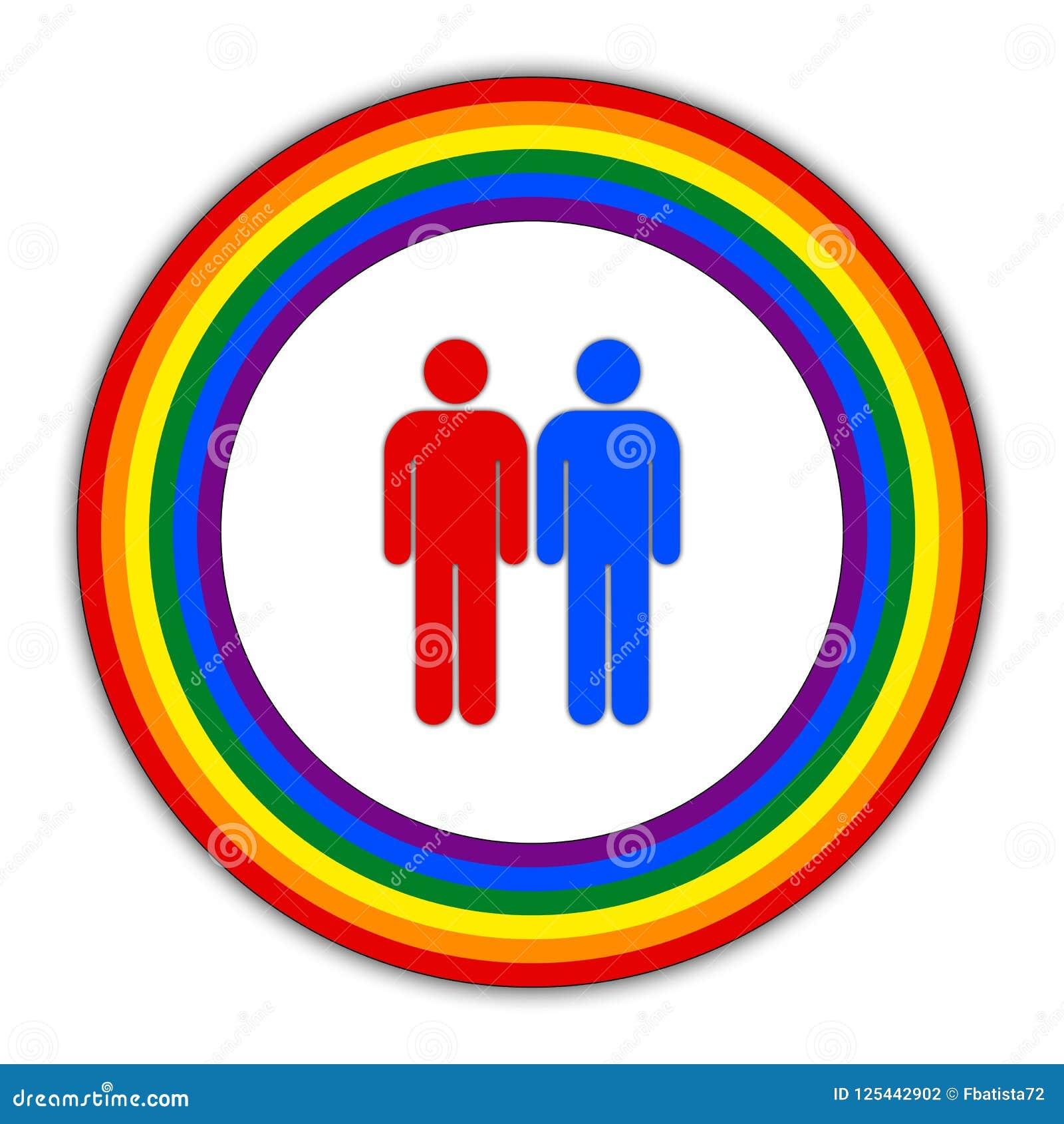 Rainbow Gay Couple Pride Flag Circle Symbol Of Sexual Minorities
