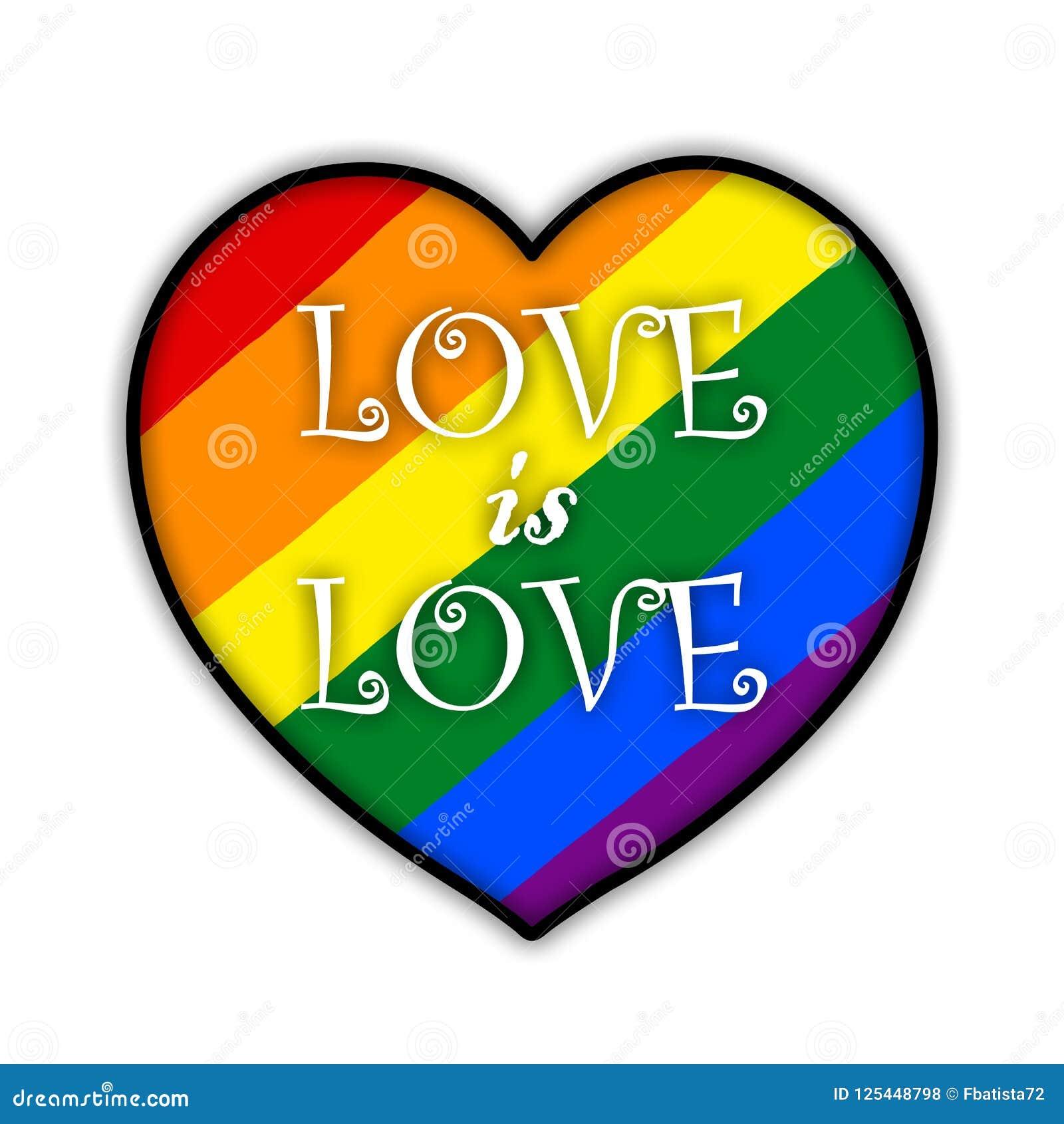Rainbow Gay Pride Flag Heart Symbol Of Sexual Minorities Love In