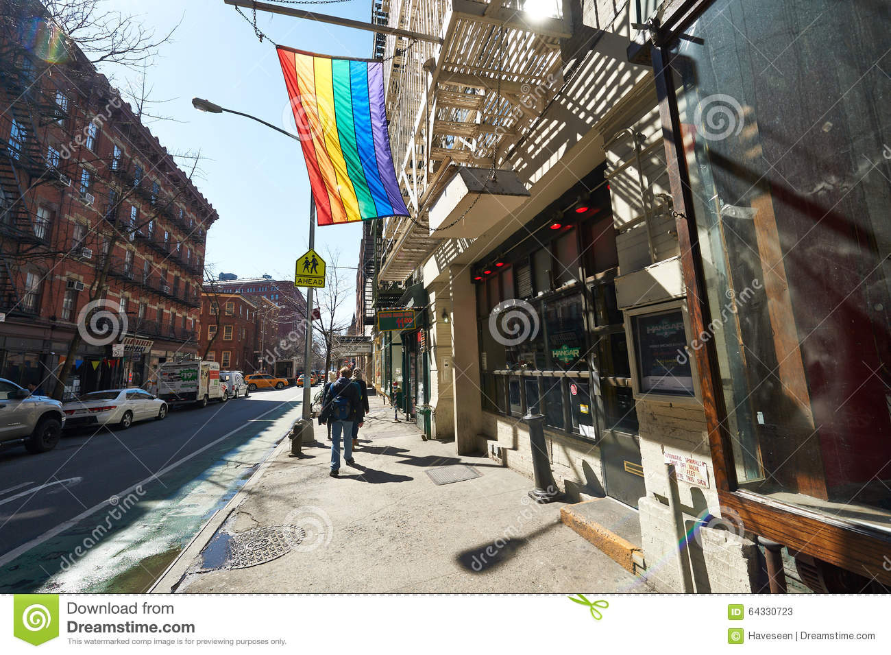 NEW YORK CITY - MARCH 31: Rainbow Gay Pride Flag at Manhattan street, March  31 2014 in New York, USA