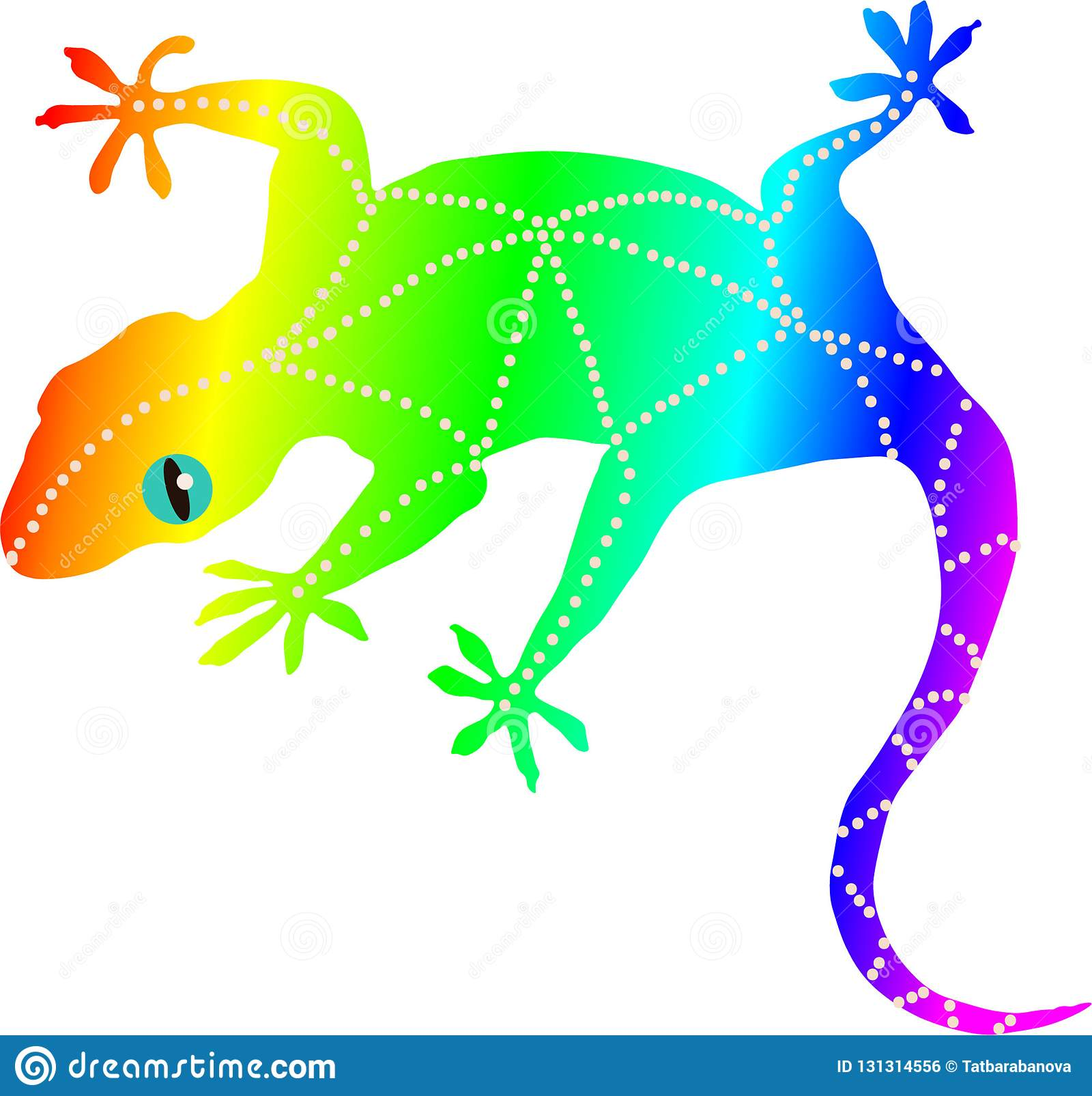 Rainbow Gecko Vector Graphic Lizard Wallpaper Stock