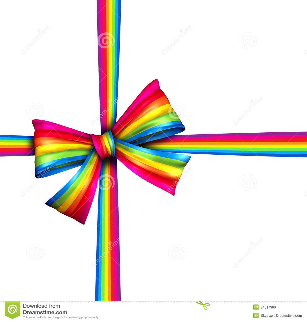 Silk present with wrapping tape of bright spectrum colors as an award