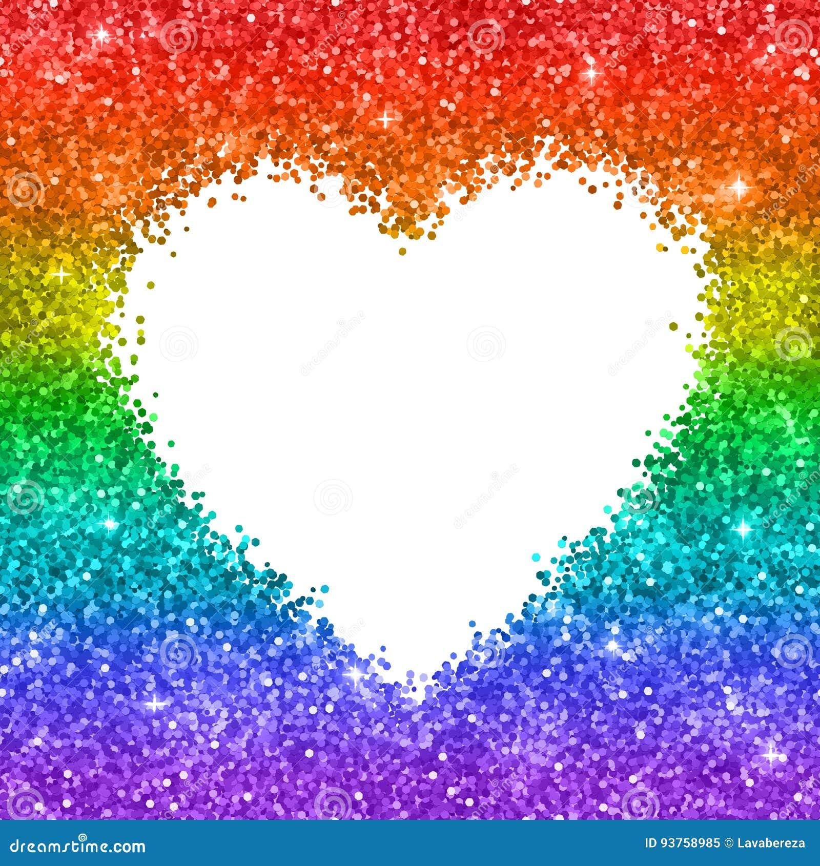Rainbow glitter heart frame on white background vector for Immagini con i brillantini
