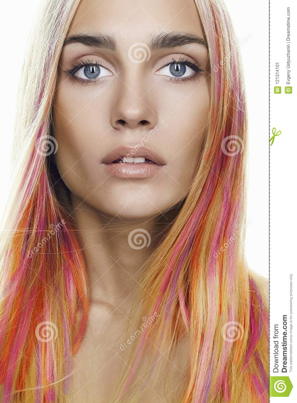 Rainbow Hairstyles Young Woman Colorful Hair Stock Image Image Of