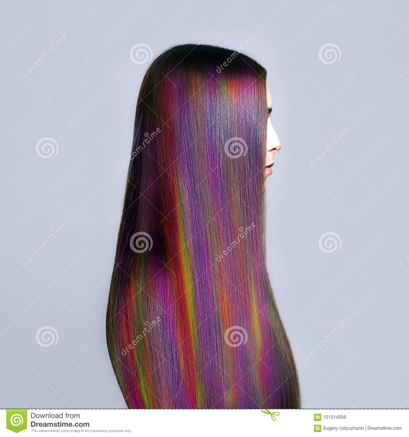 Rainbow Hairstyles Young Woman. Colorful Hair Stock Photo ...