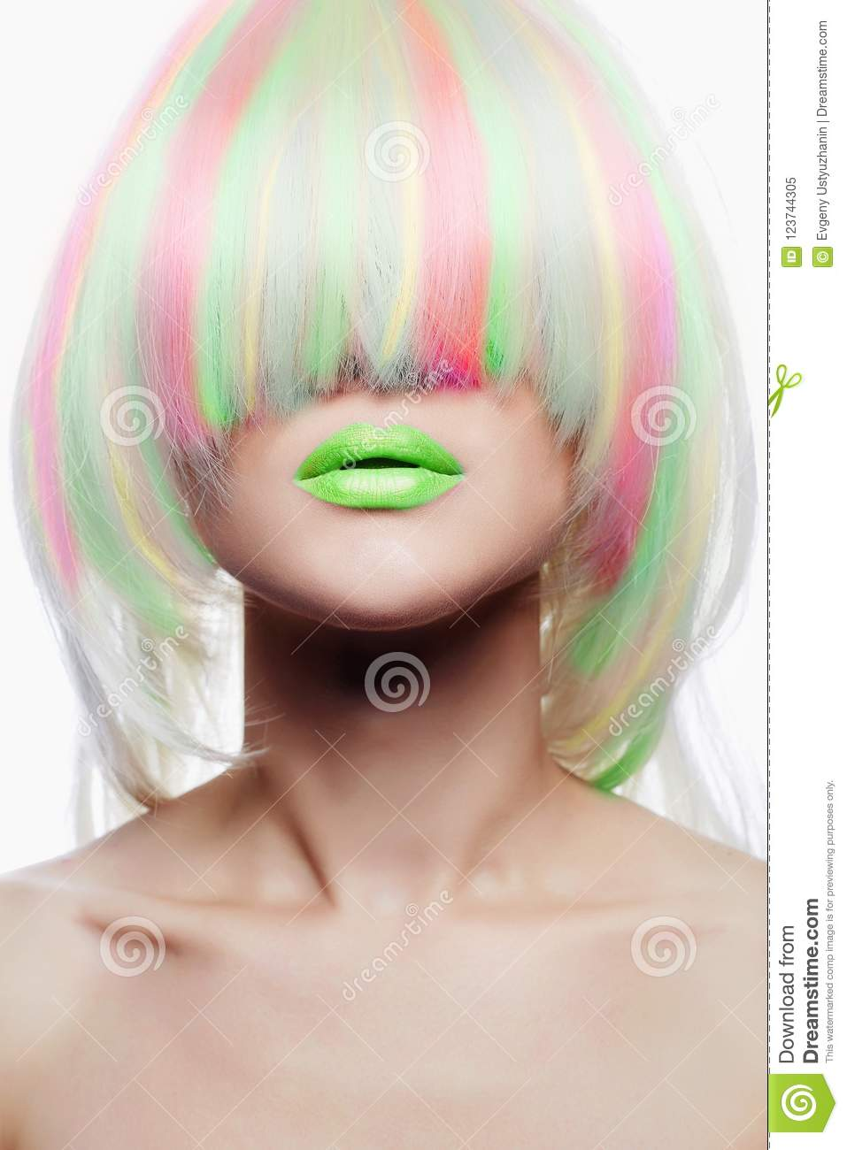 Rainbow Hairstyles Girl With Green Lips. Colorful Hair Stock Image ...