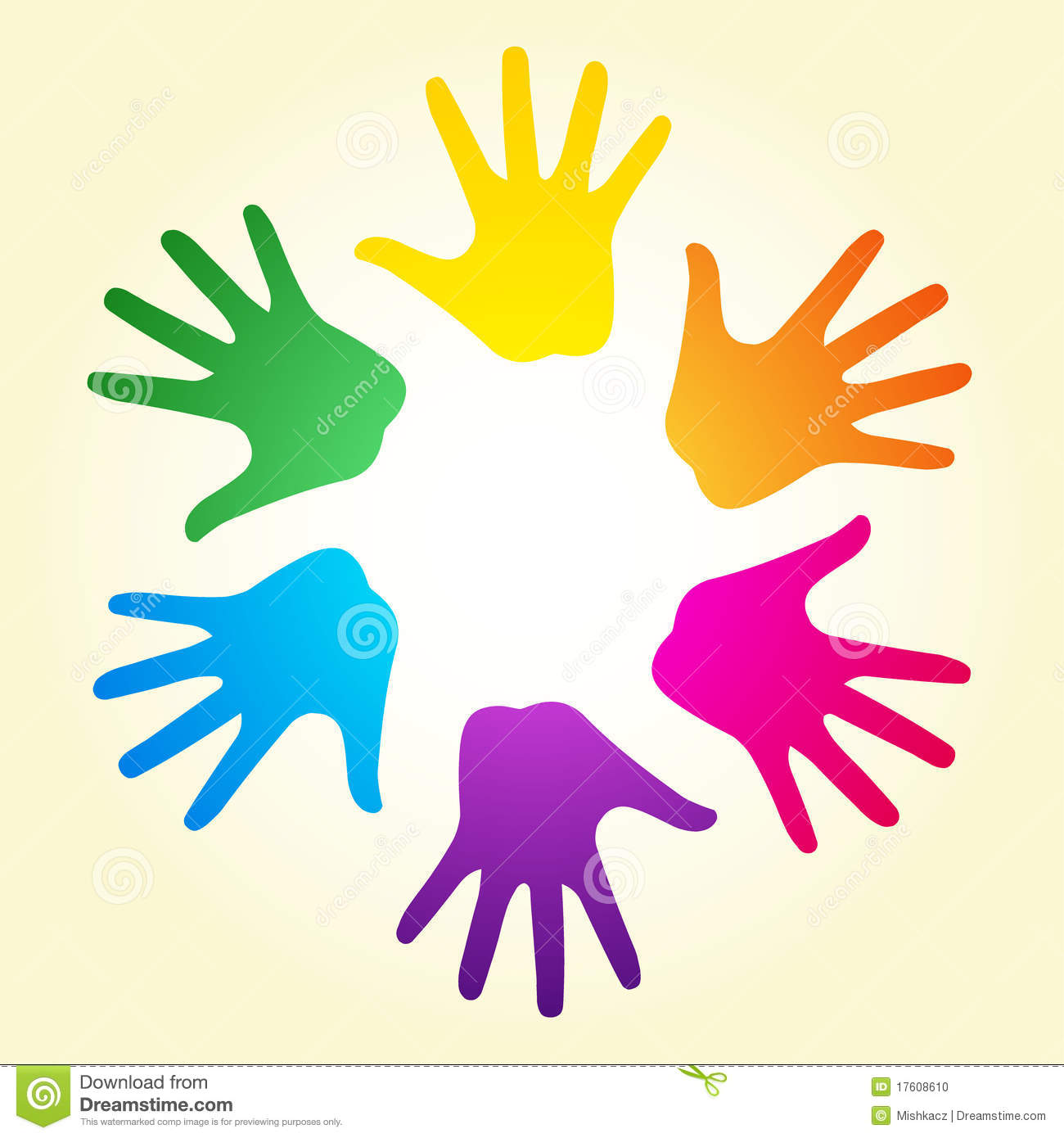 Vector illustration of colorful rainbow ring of hands can means ...