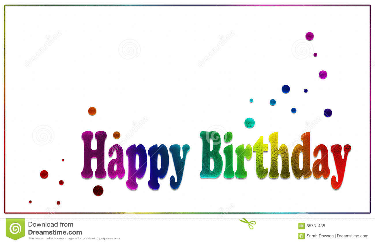 A Simple White Card Or Poster With Textured Bright Rainbow Text Reading Happy Birthday The Design Is Finished Off Scattering Of Coloured Dots