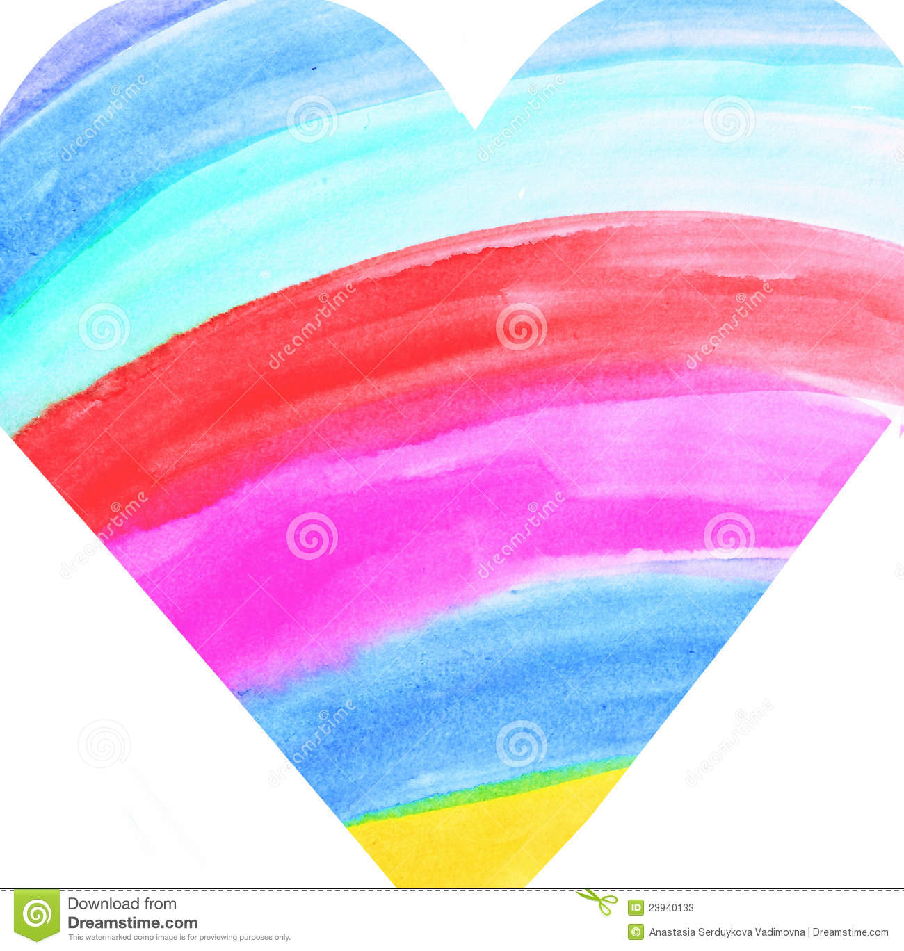 Symbol Of A Heart Coloured Like A Rainbow Stock Illustration