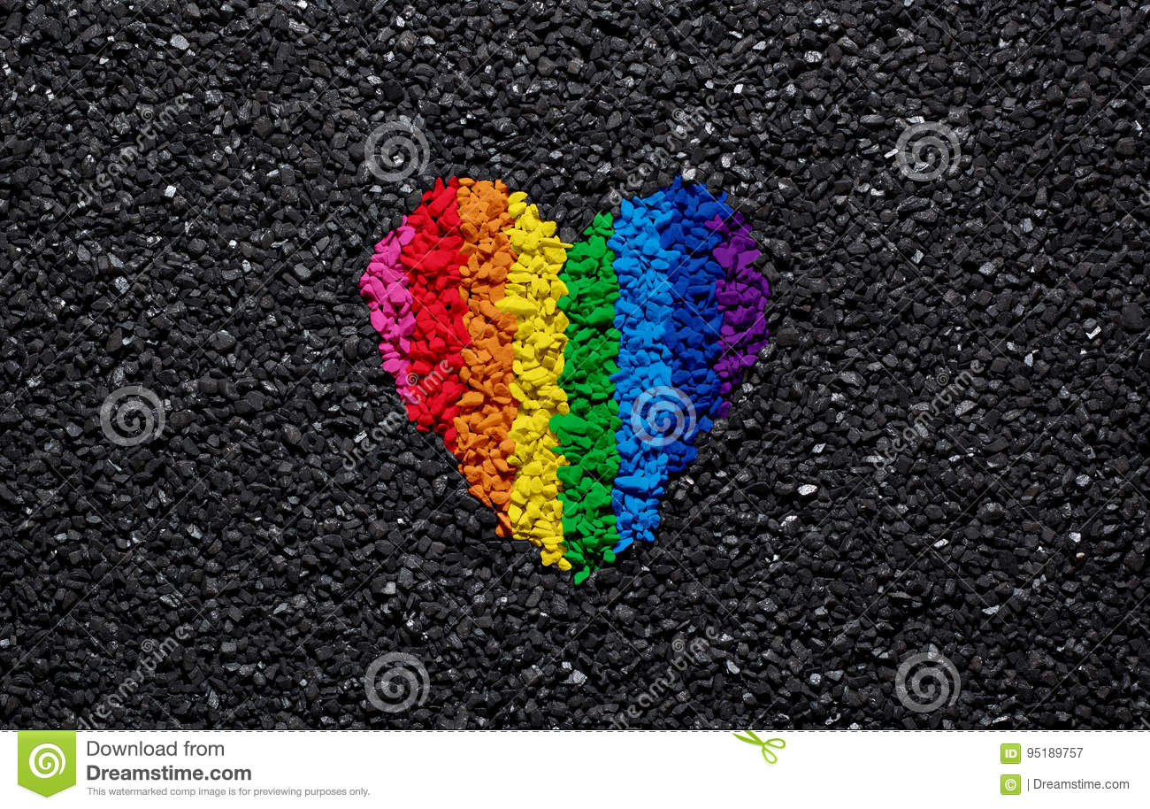 Rainbow heart on black background, gravel and shingle, LGBT colors, love  wallpaper,