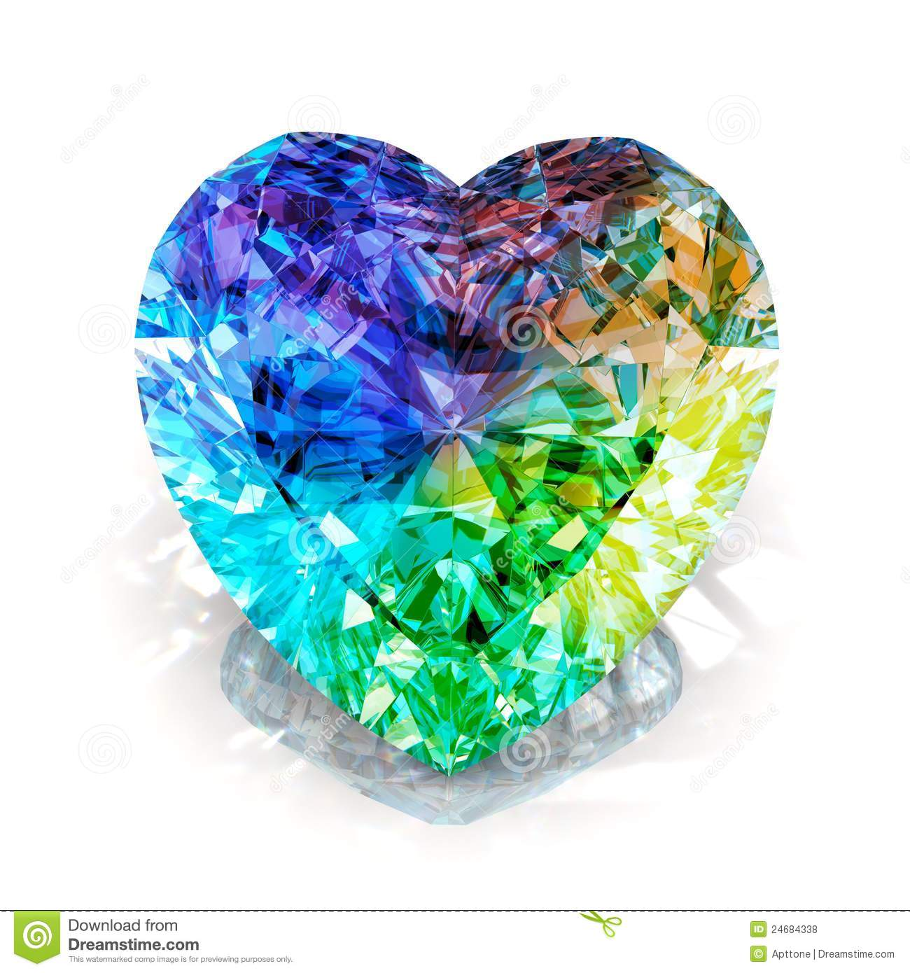 Rainbow heart shape diamond. Beautiful shape emerald image with ...
