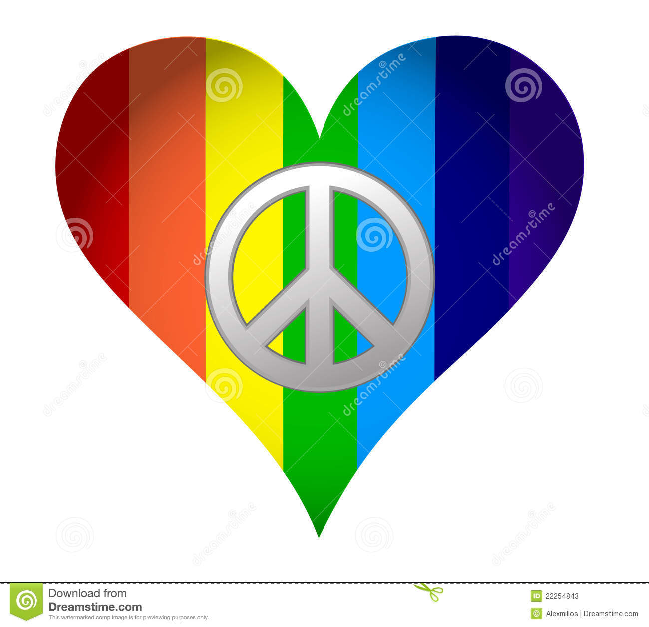 Rainbow Hearth With Peace Sign Stock Vector Illustration Of