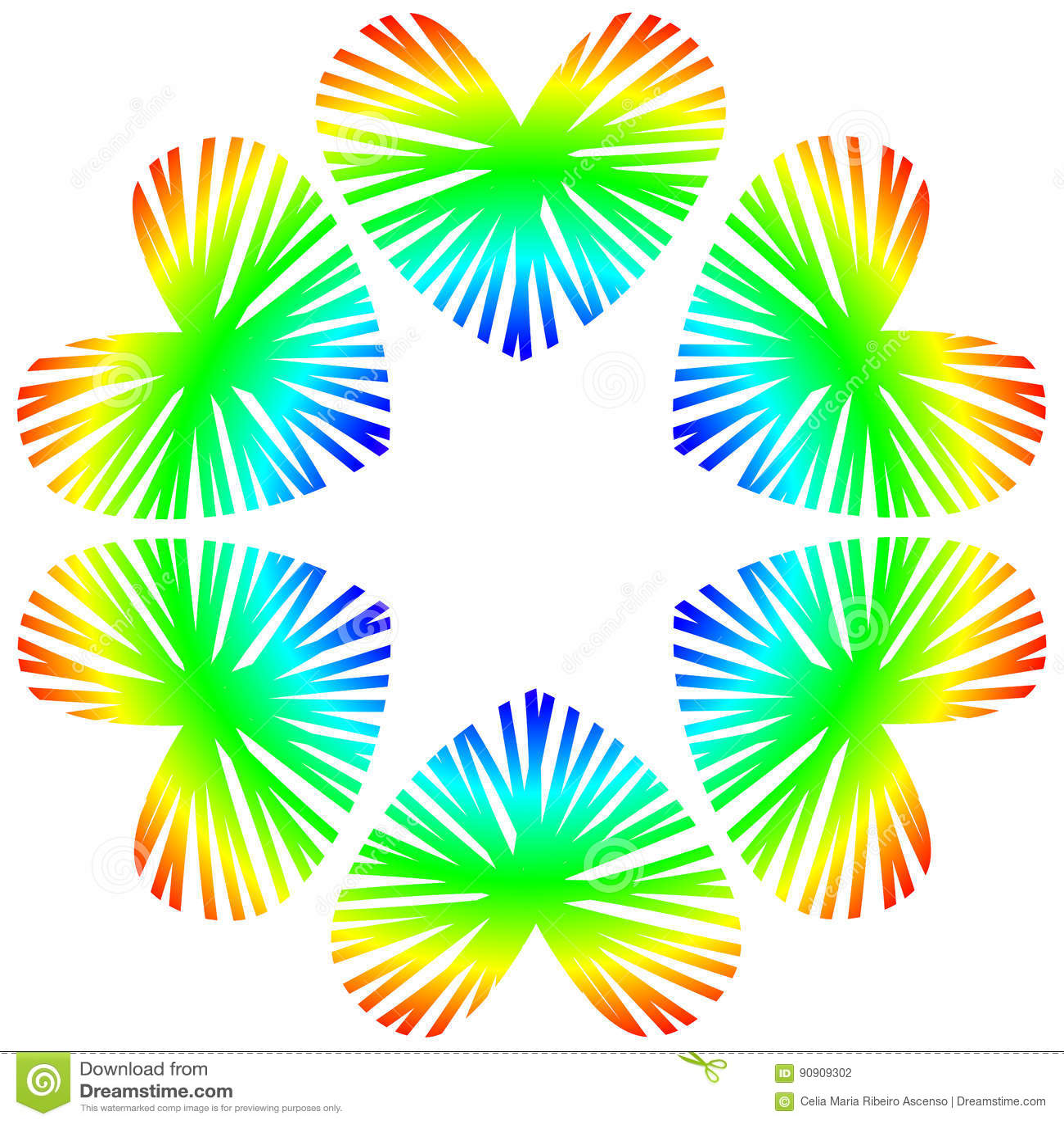 Rainbow Hearts Circle Stock Illustration. Image Of Frames